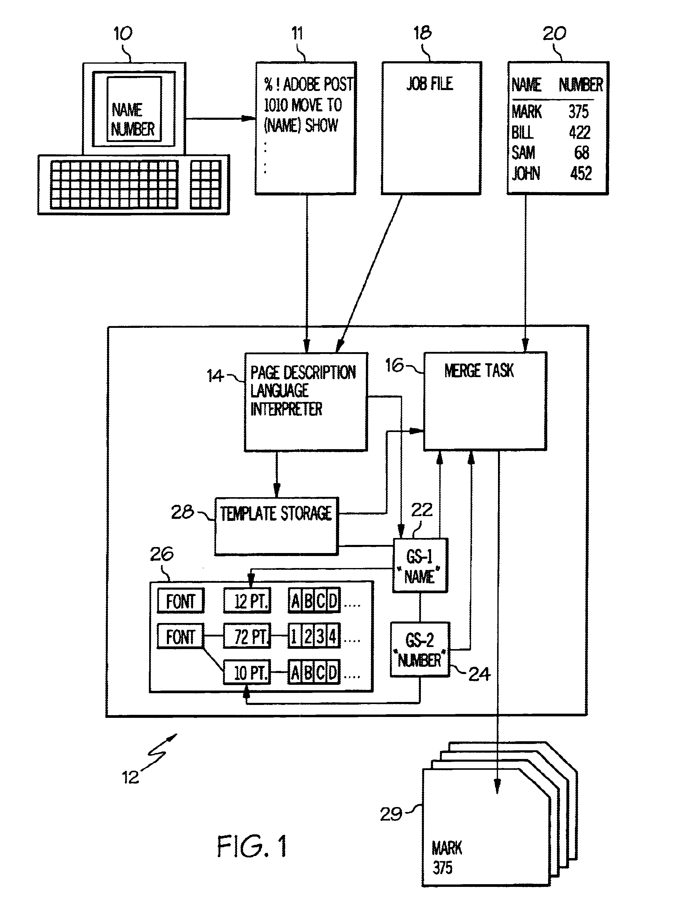 Patent us6687016 method of utilizing variable data fields with a patent drawing ccuart Choice Image