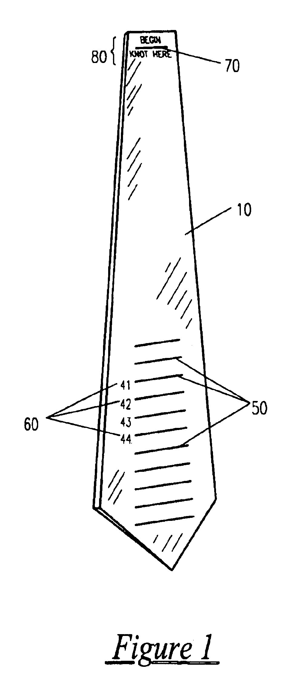 patent us6698102 universal necktie tying aid and ties utilizing