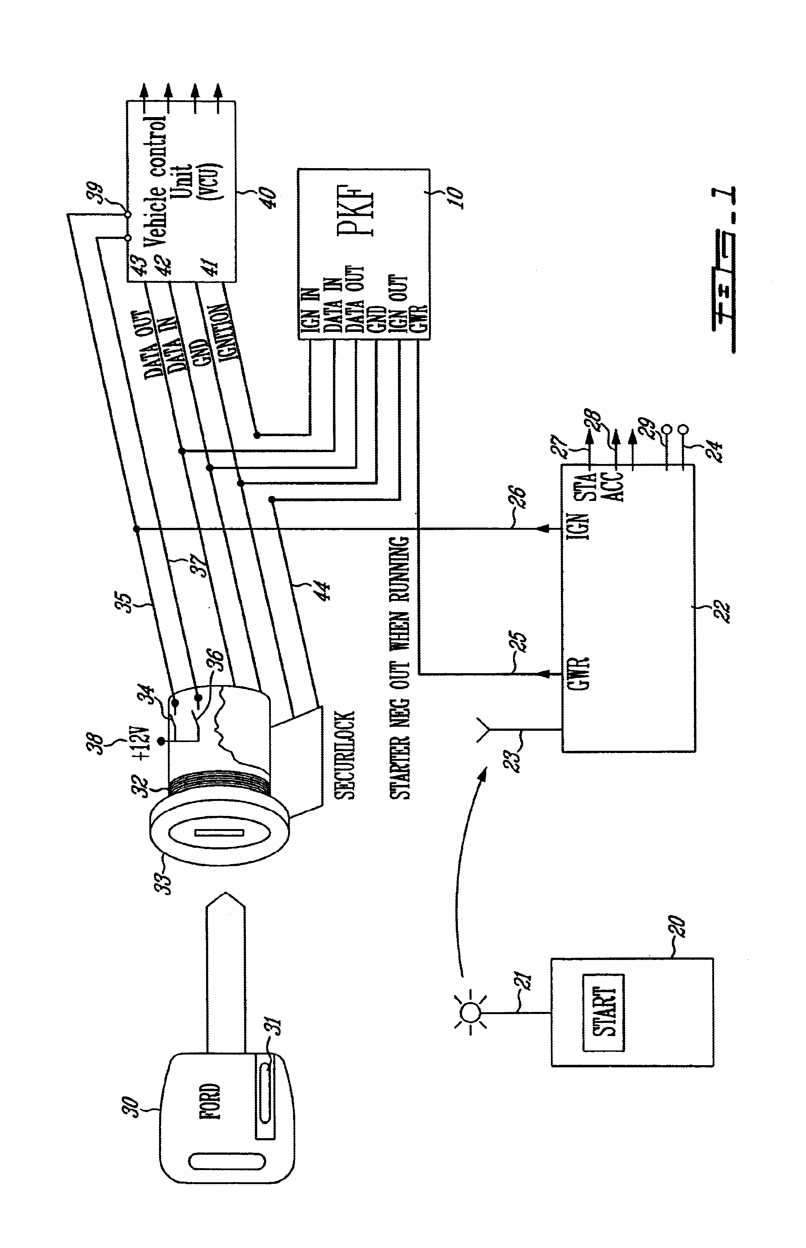 patent us6700220 remote pass key module for anti theft system equipped vehicles and