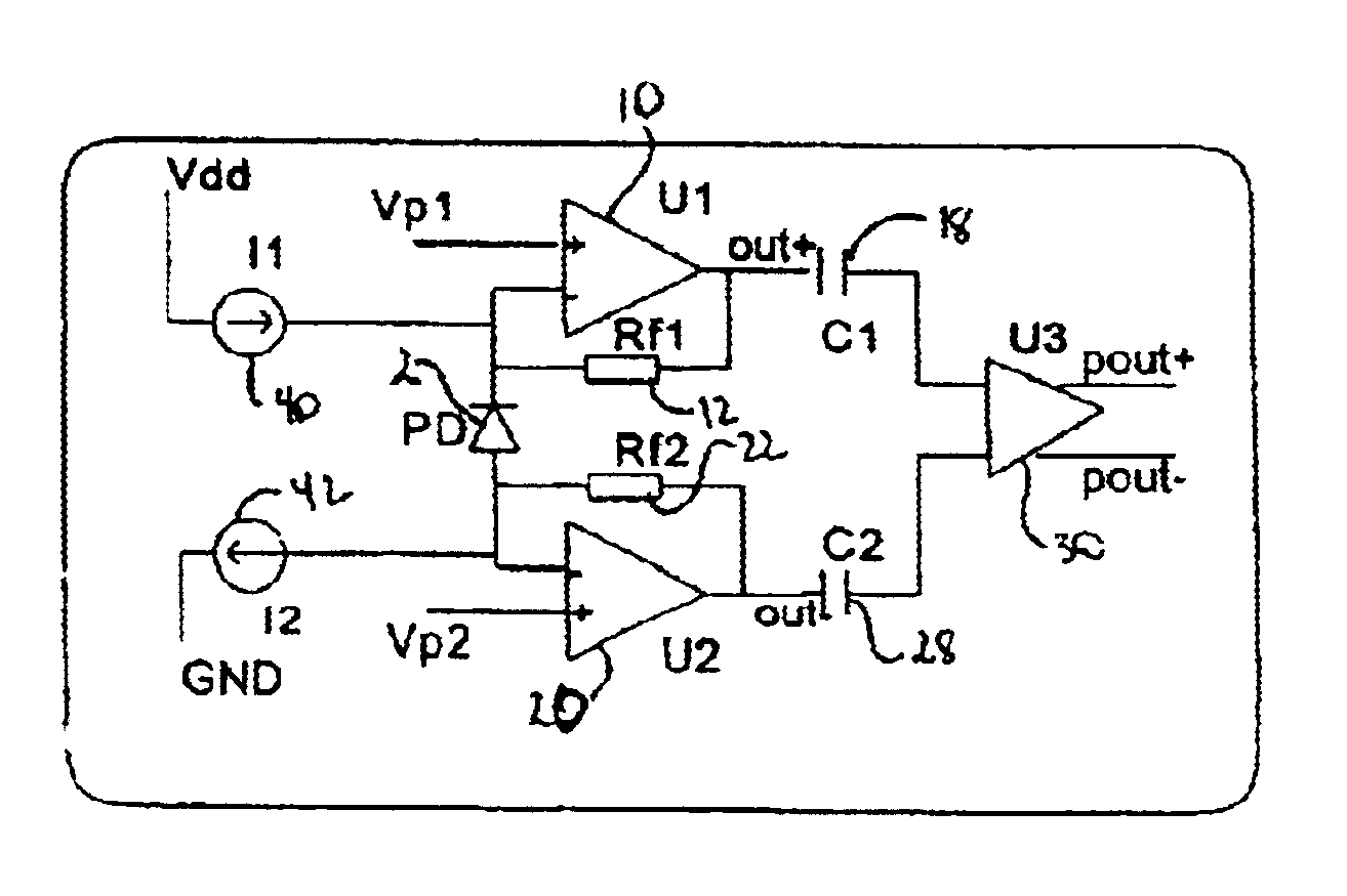 Patent Us6707023 Differential Photoelectric Receiver Circuit Ac Coupling A Noninverting Amplifier Drawing