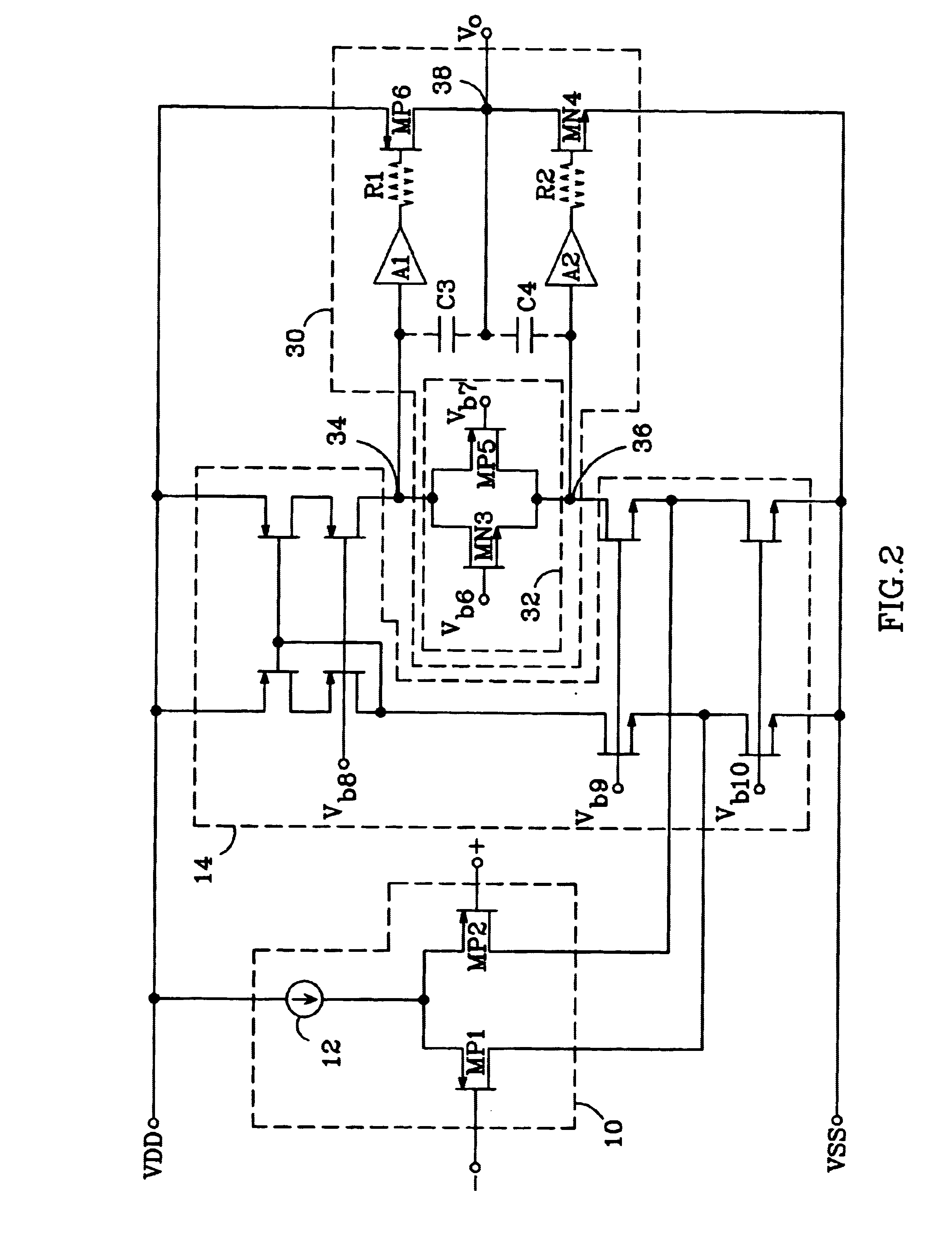 patent us6714076 - buffer circuit for op amp output stage