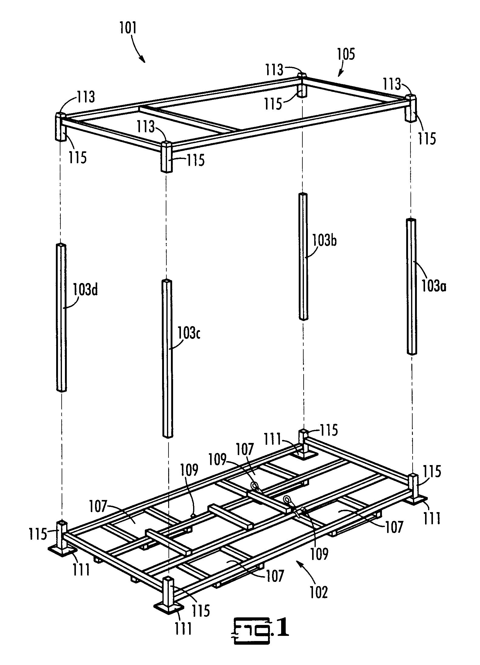 Patent us6726041 metal shipping crate google patents for Metal shipping crate