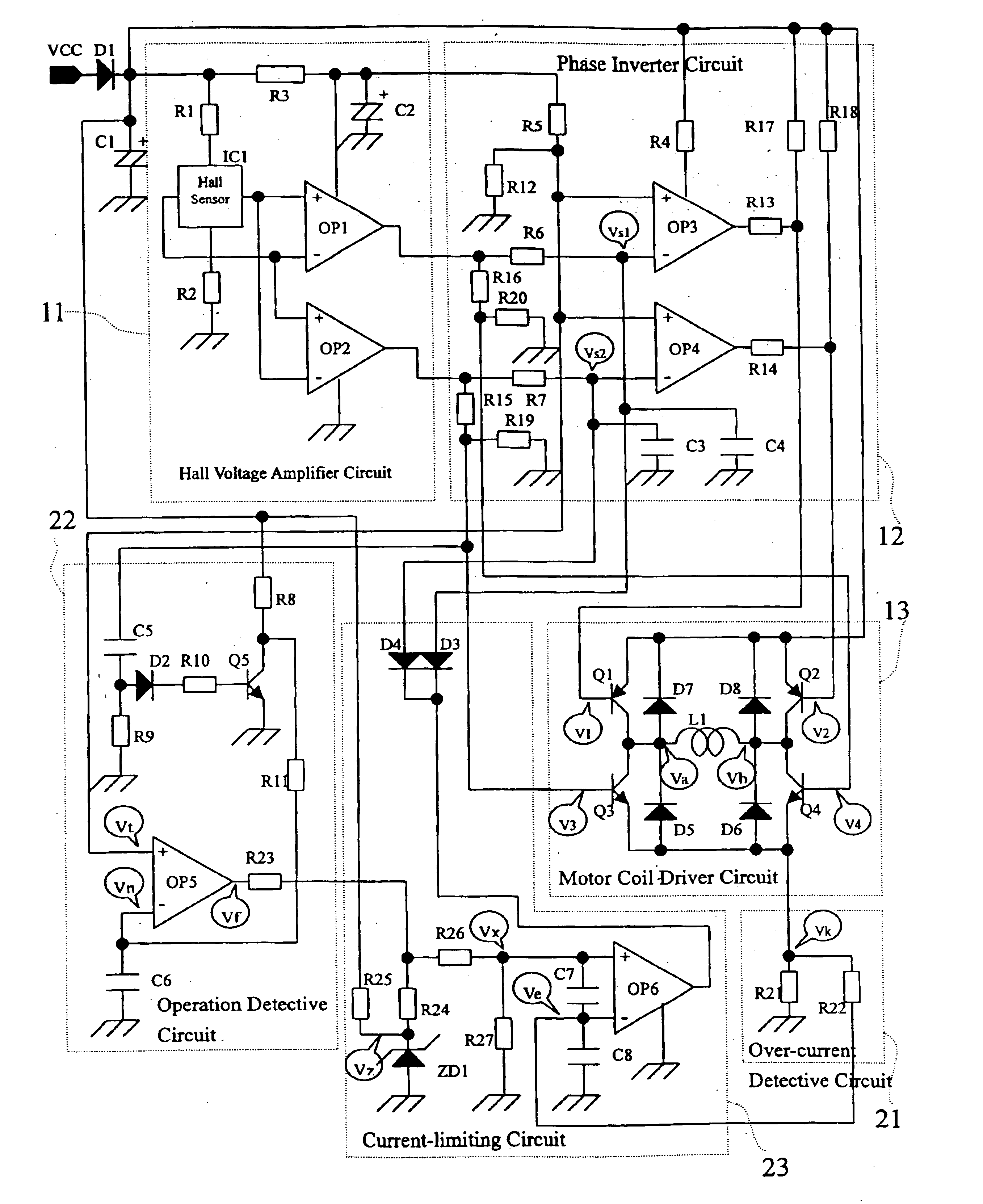 Patent Us6741047 Dual Current Limiting Circuit For Dc Brushless Brushlessmotordiagrampng Drawing