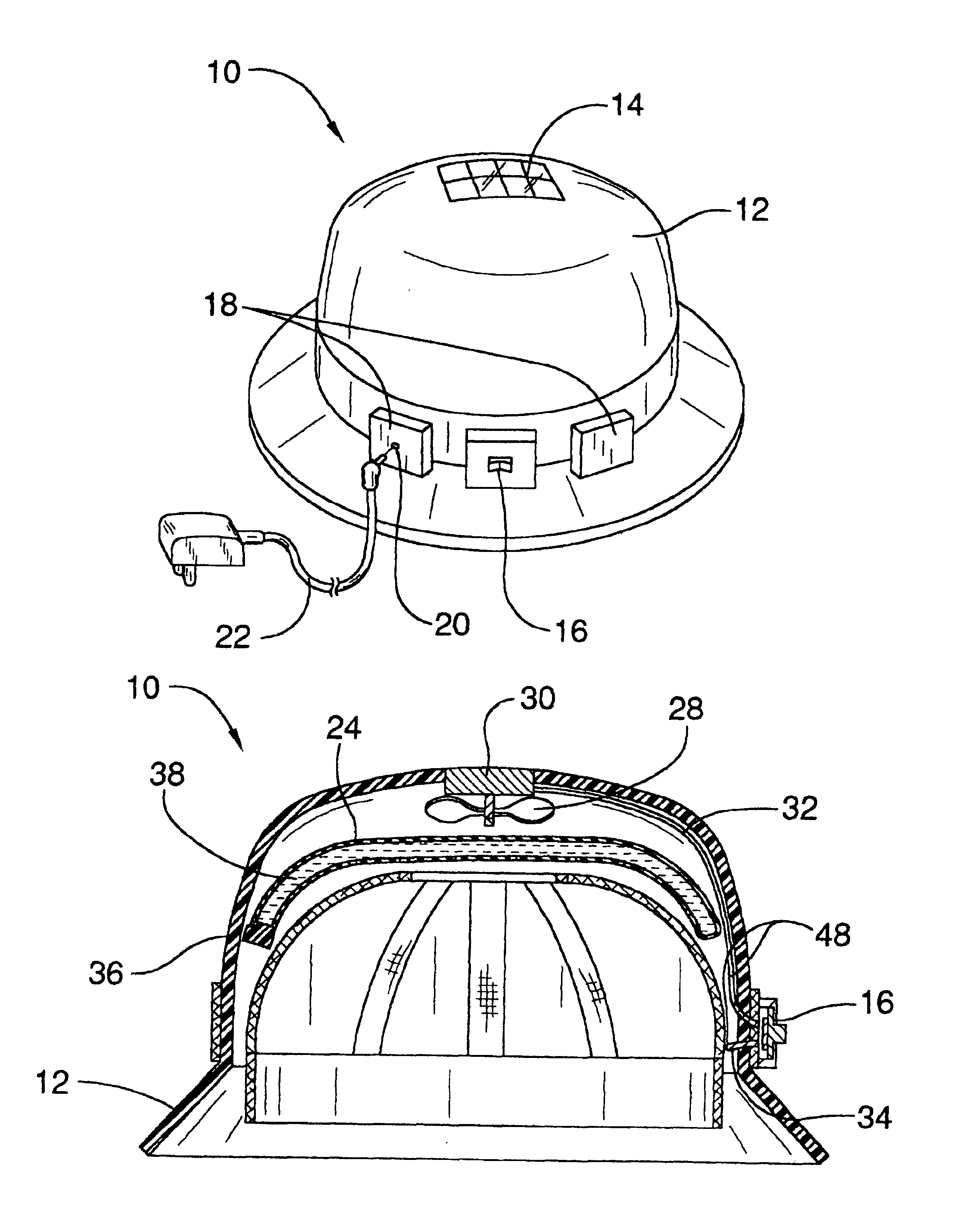 patent us6760925 - air-conditioned hardhat
