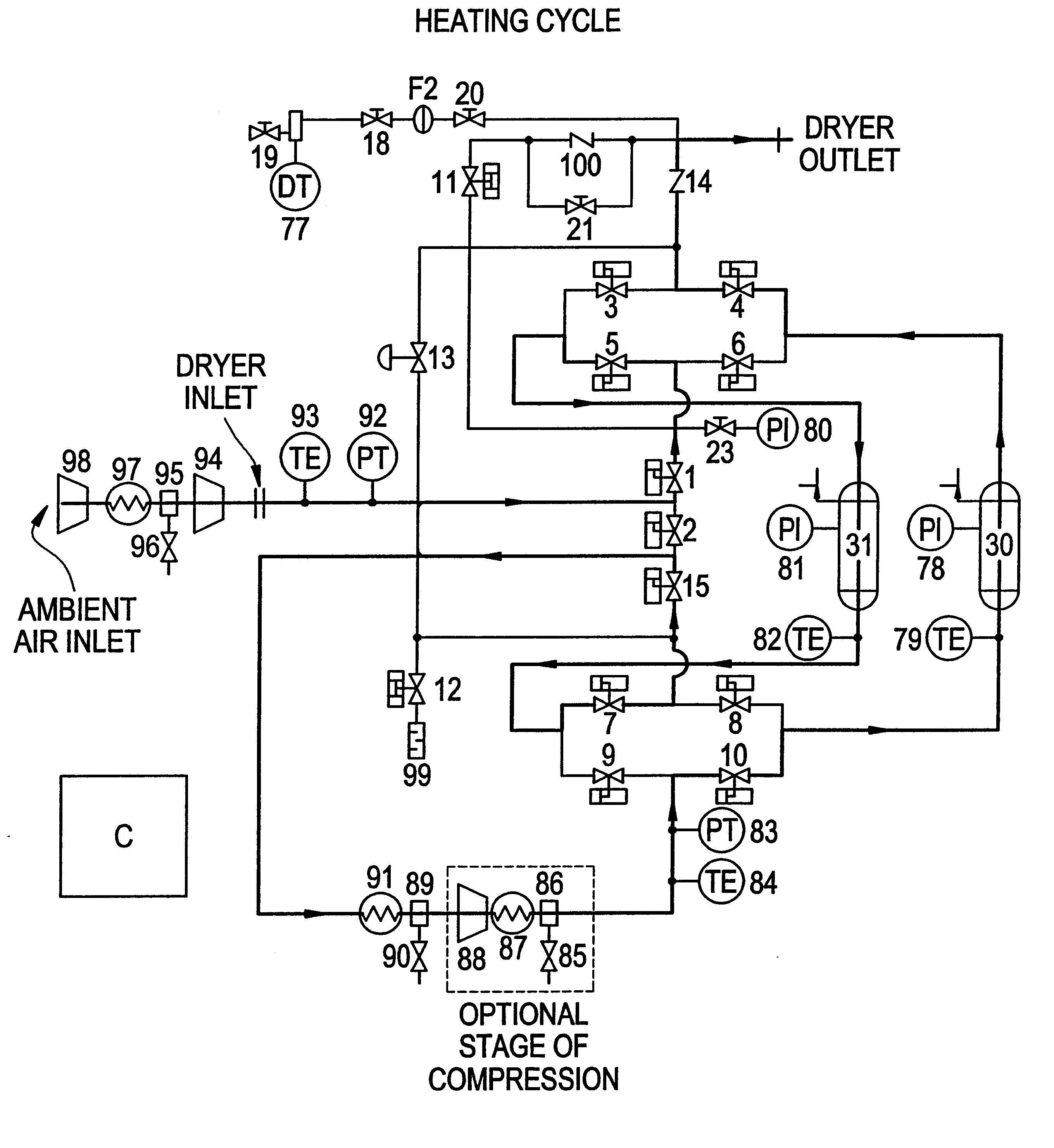 Brevet Us6767390 Energy Efficient Desiccant Dryer Regeneration Saver Circuit Patent Drawing