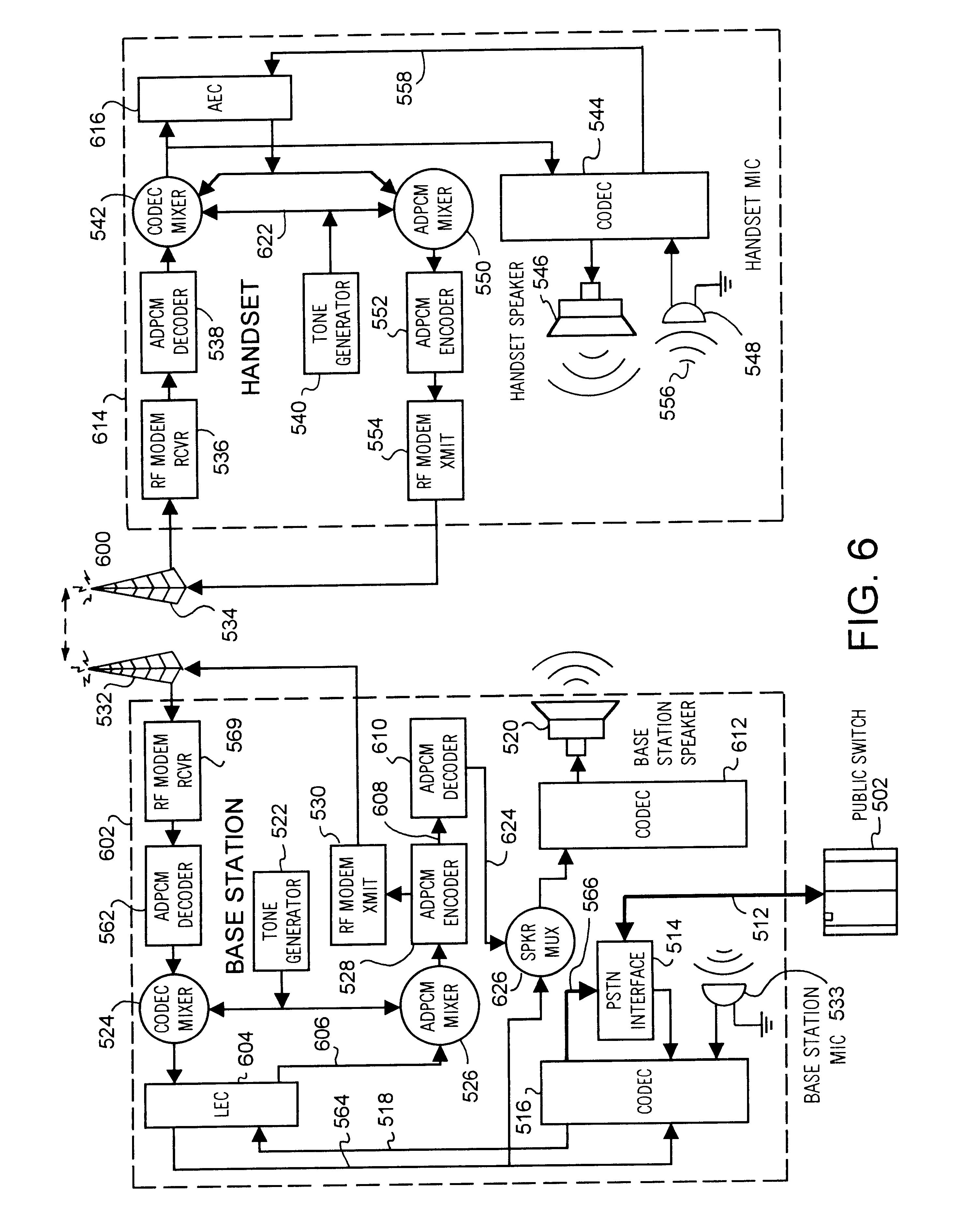 patent us6768914 full duplex speakerphone wireless patent drawing
