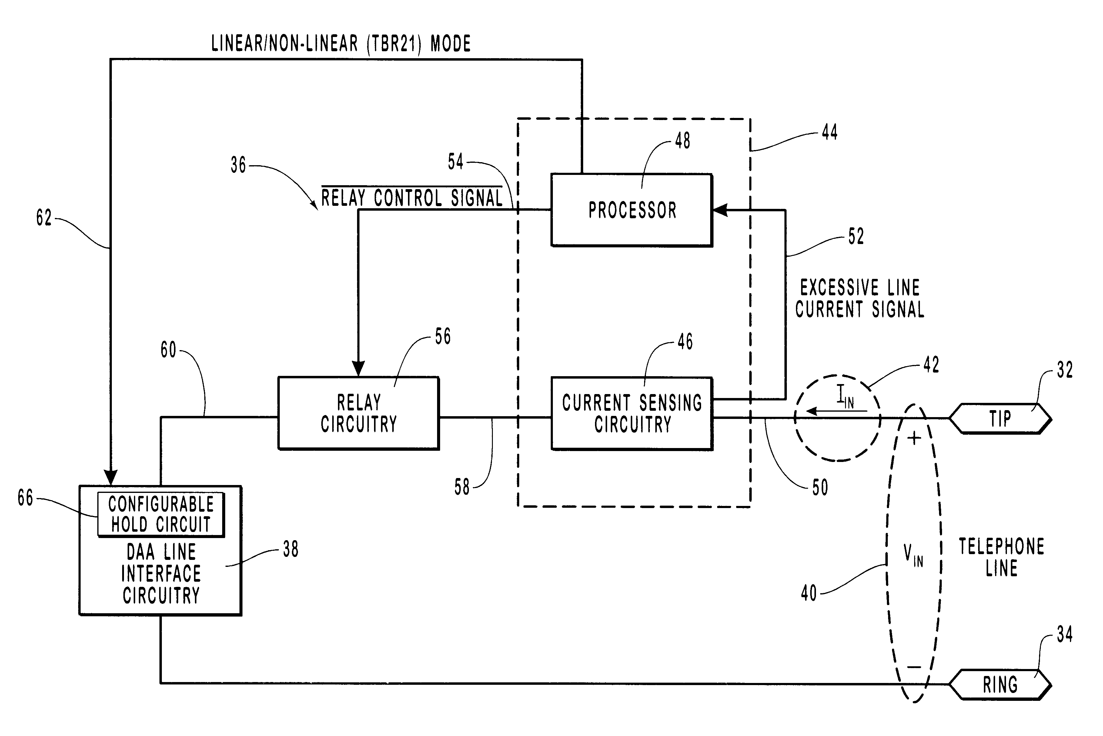 Patent Us6778664 Line Current Protection Circuit And Method For Schematic Diagram Relaycontrol Controlcircuit Drawing