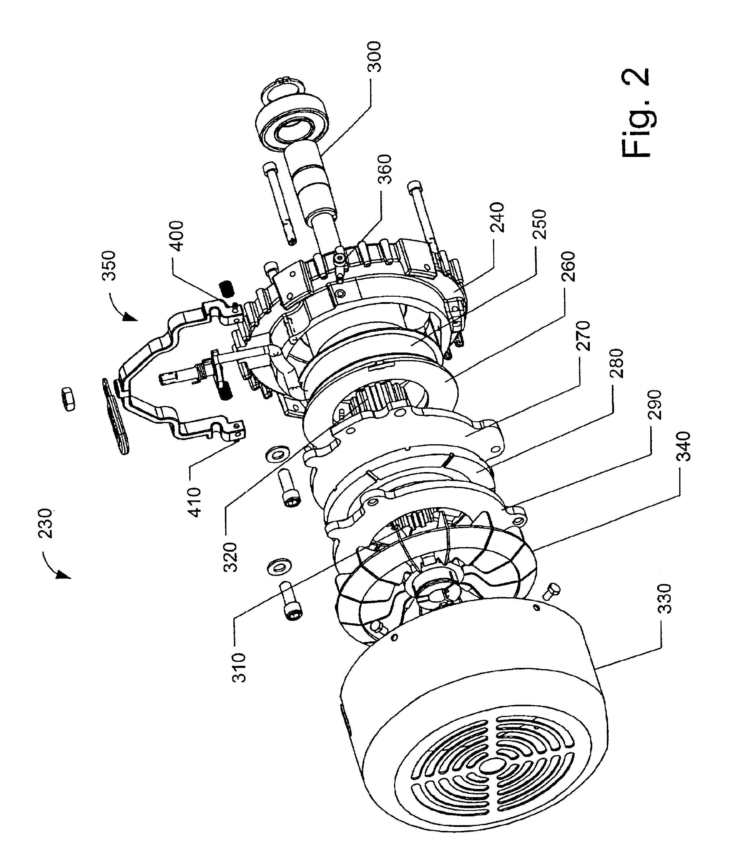 patent us6781264 - integral field cup and front end shield for an electric brake motor