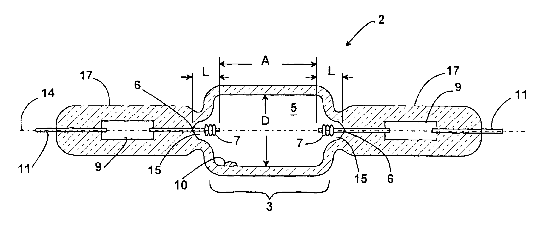 Patent Us6786791 Quartz Arc Tube For A Metal Halide Lamp