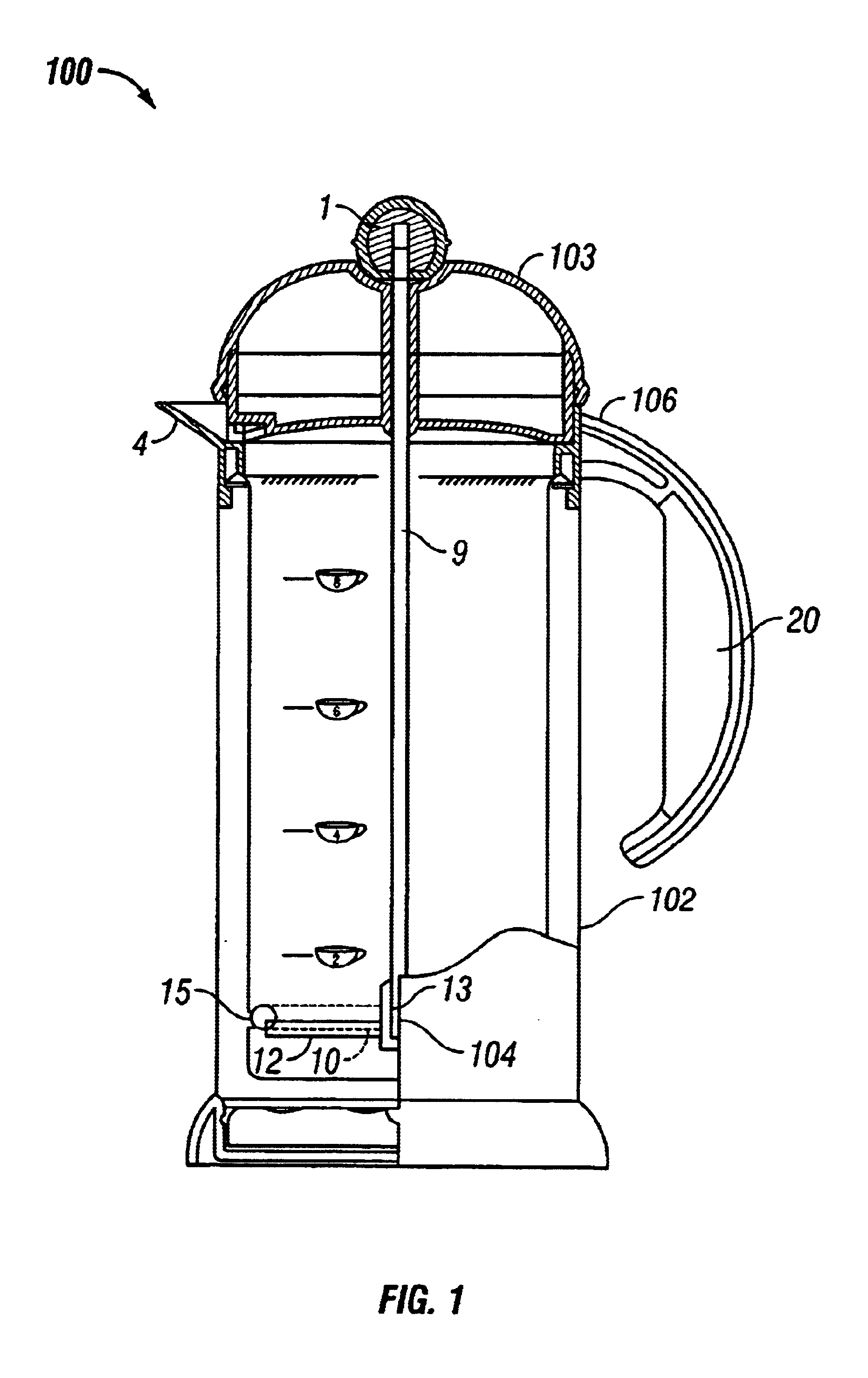 French Press Coffee Maker Assembly : Patent US6797304 - French press coffee maker with assembly to selectively reduce contact of ...