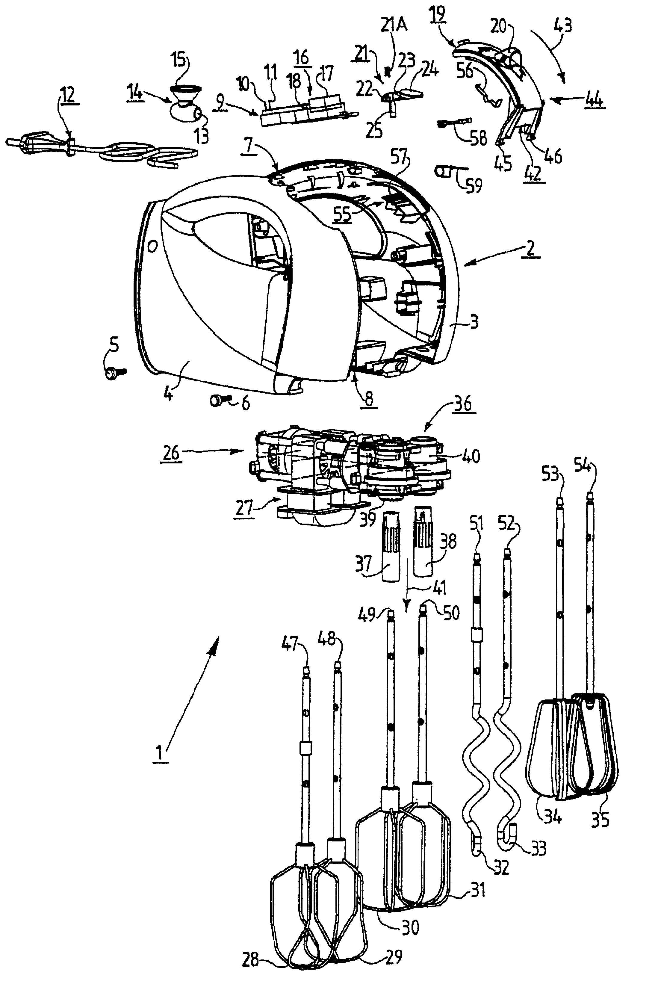 Patent US6802637 - Hand-held mixer having a switching means ... on mixer circuit schematic, home theater system connection diagrams, powered mixer diagrams, sewage pump venting diagrams, xbox 360 cable connections diagrams, audio connector diagrams, pro tools studio diagrams, mixer parts,
