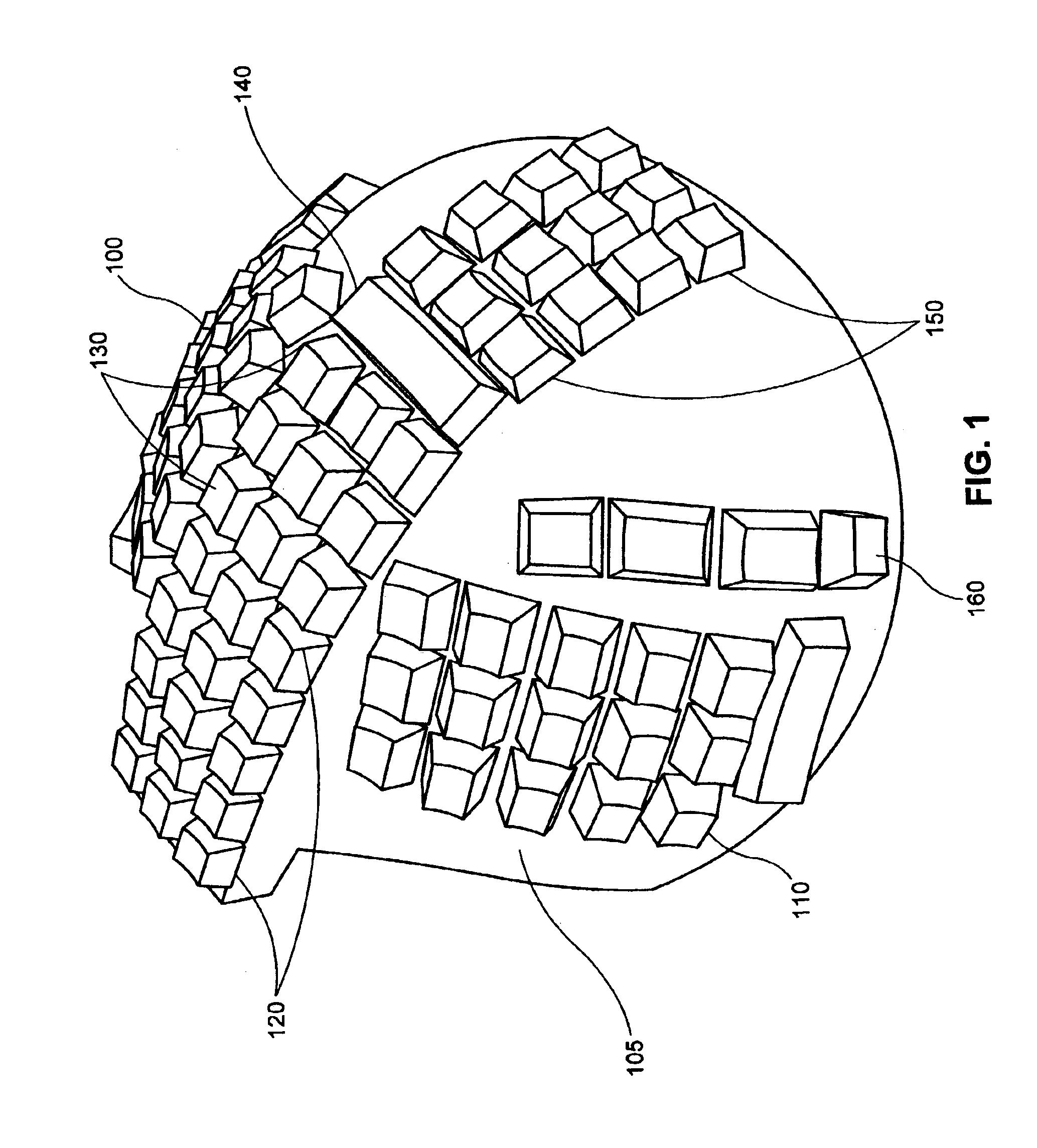 patent us6802662 - non-linear ergonomic keyboard