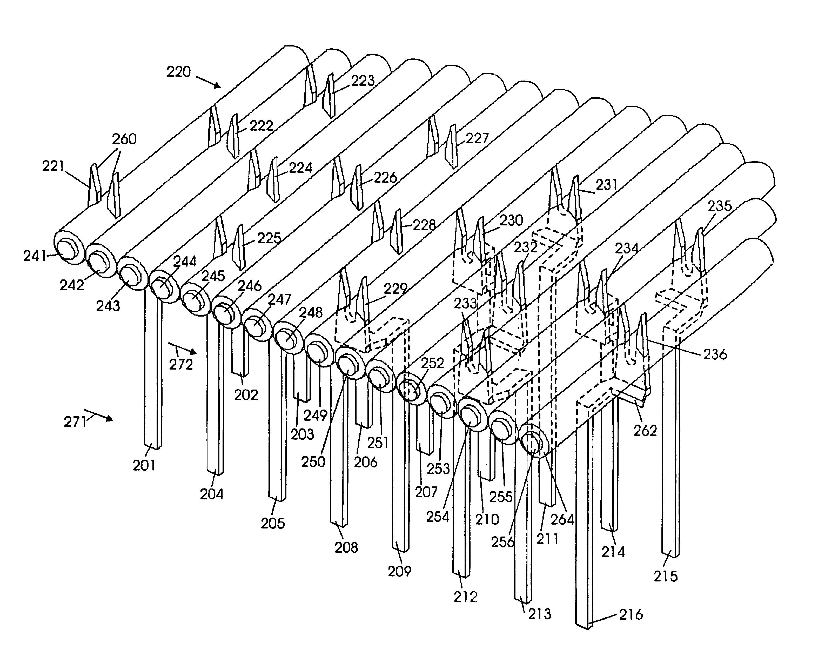 patent us6811429  pin arrangement