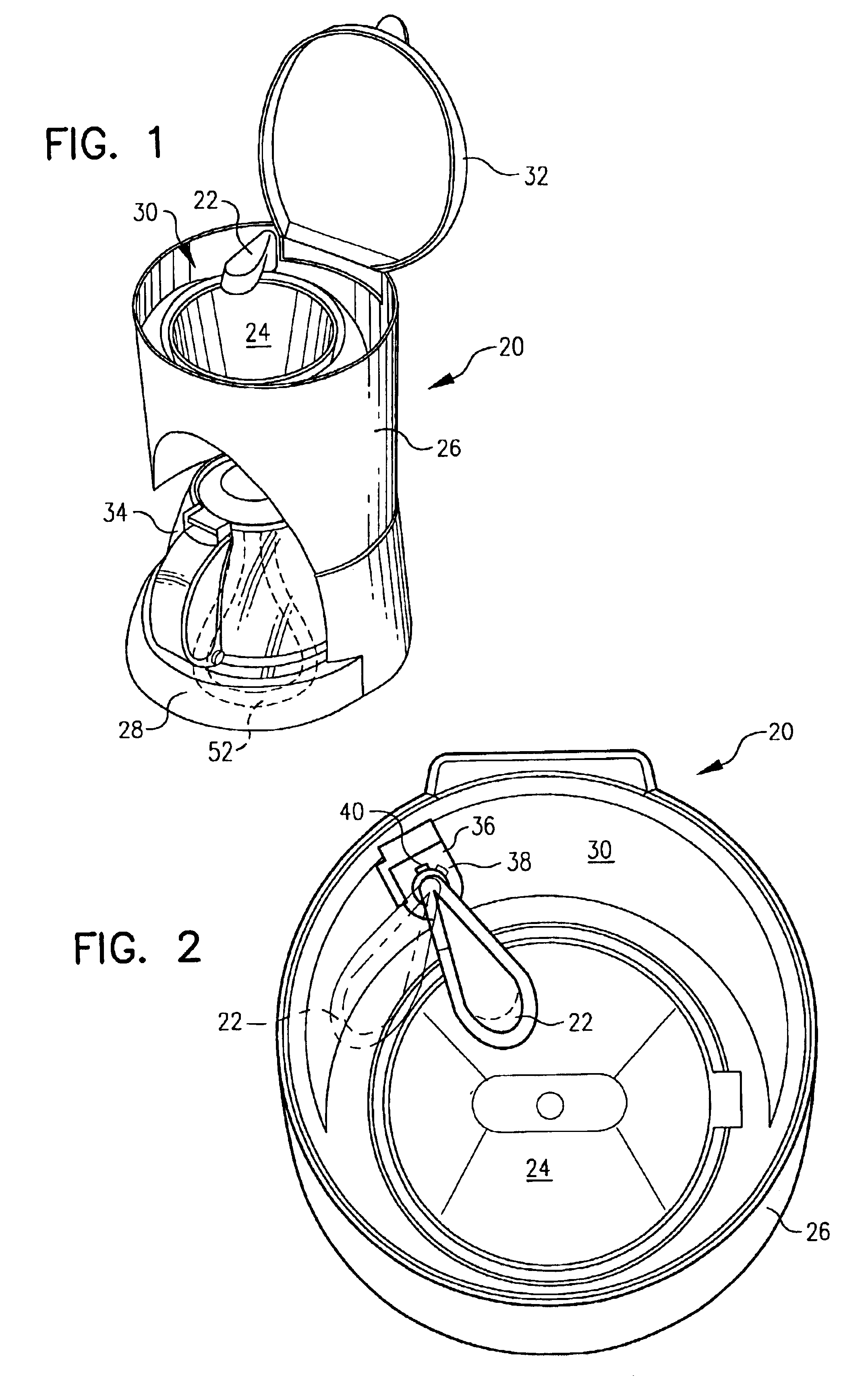 Patent US6827004 - Drip coffee maker with horizontal spray shower head - Google Patents