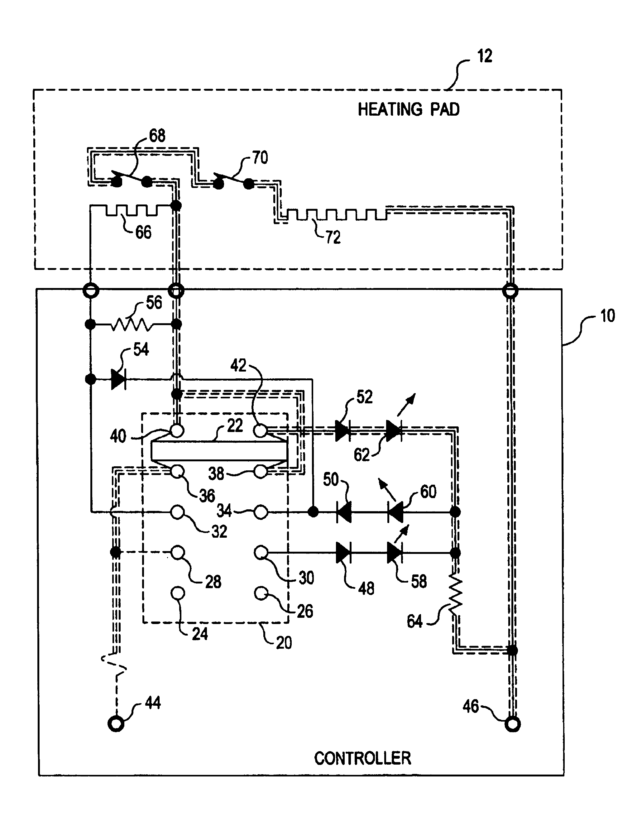 Patent Us6884973 - Heating Pad Controller With Multiple Position Switch And Diodes