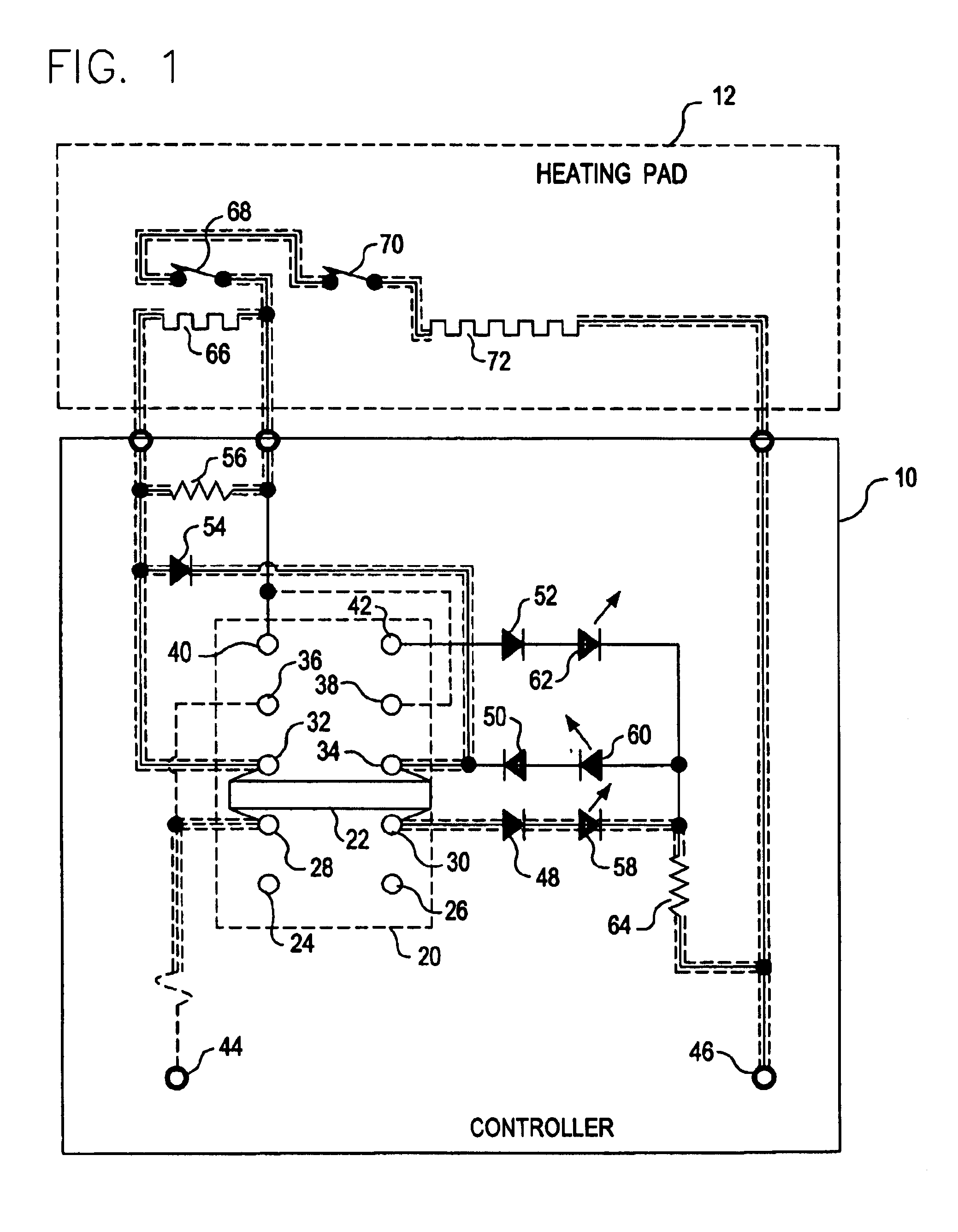 US06884973 20050426 D00001 patent us6884973 heating pad controller with multiple position Simple Wiring Schematics at crackthecode.co