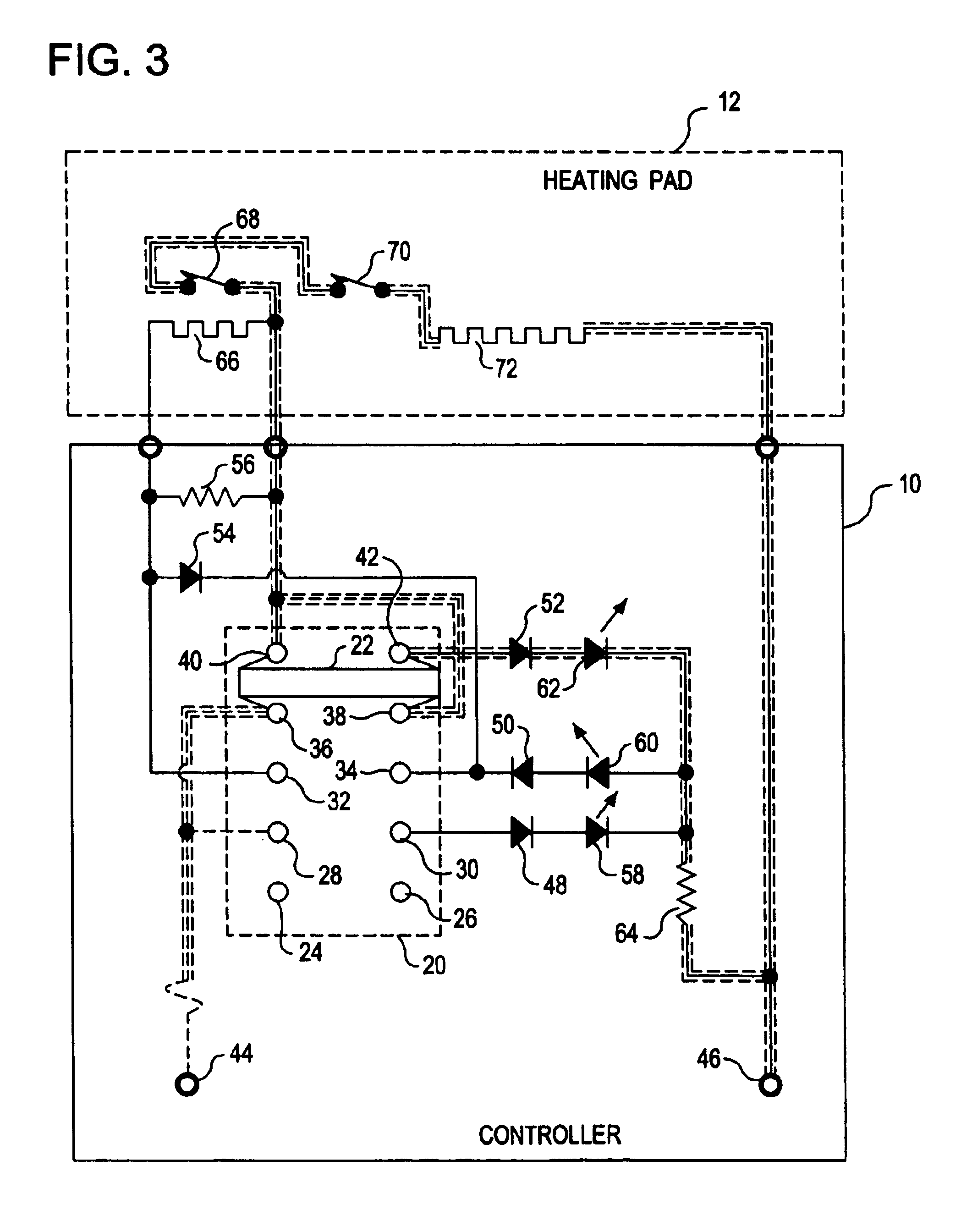 US06884973 20050426 D00003 patent us6884973 heating pad controller with multiple position Simple Wiring Schematics at crackthecode.co