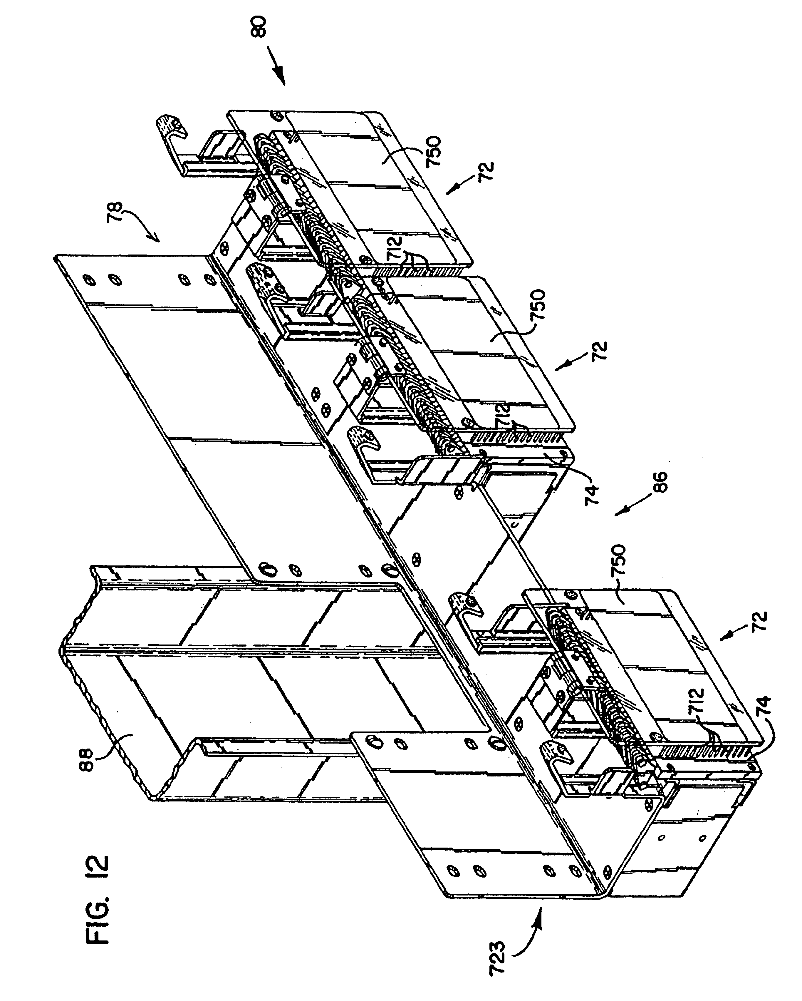 patent us6893299 termination panel with fanning strips RJ21 Telco Ends patent drawing