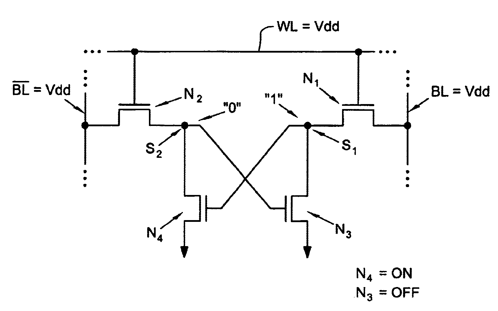 patent us6920061 - loadless nmos four transistor dynamic dual vt sram cell