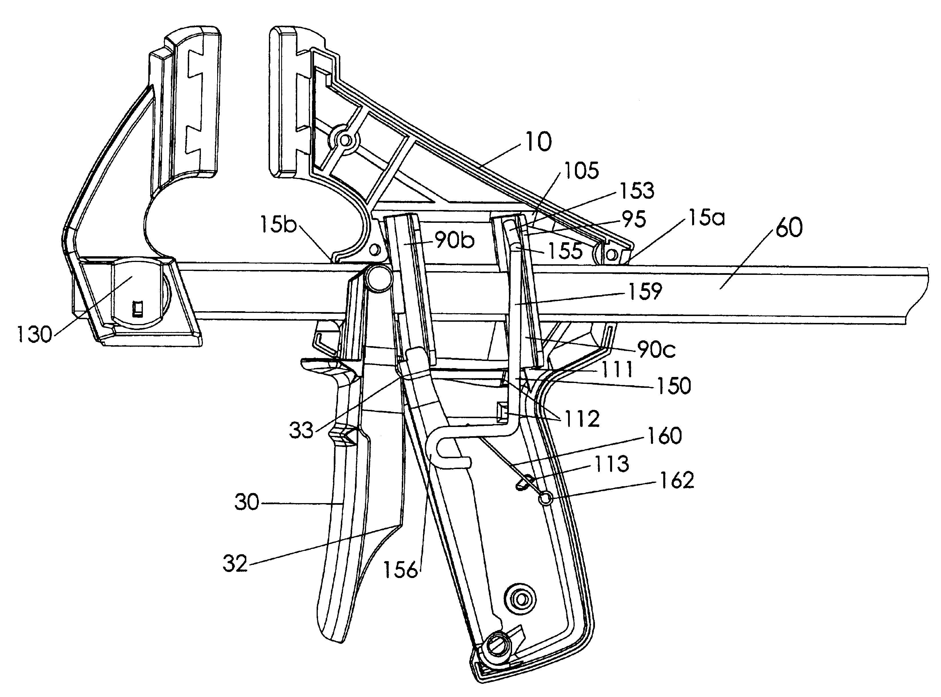 patent us6929253 - quick action bar clamp with improved stiffness and release button