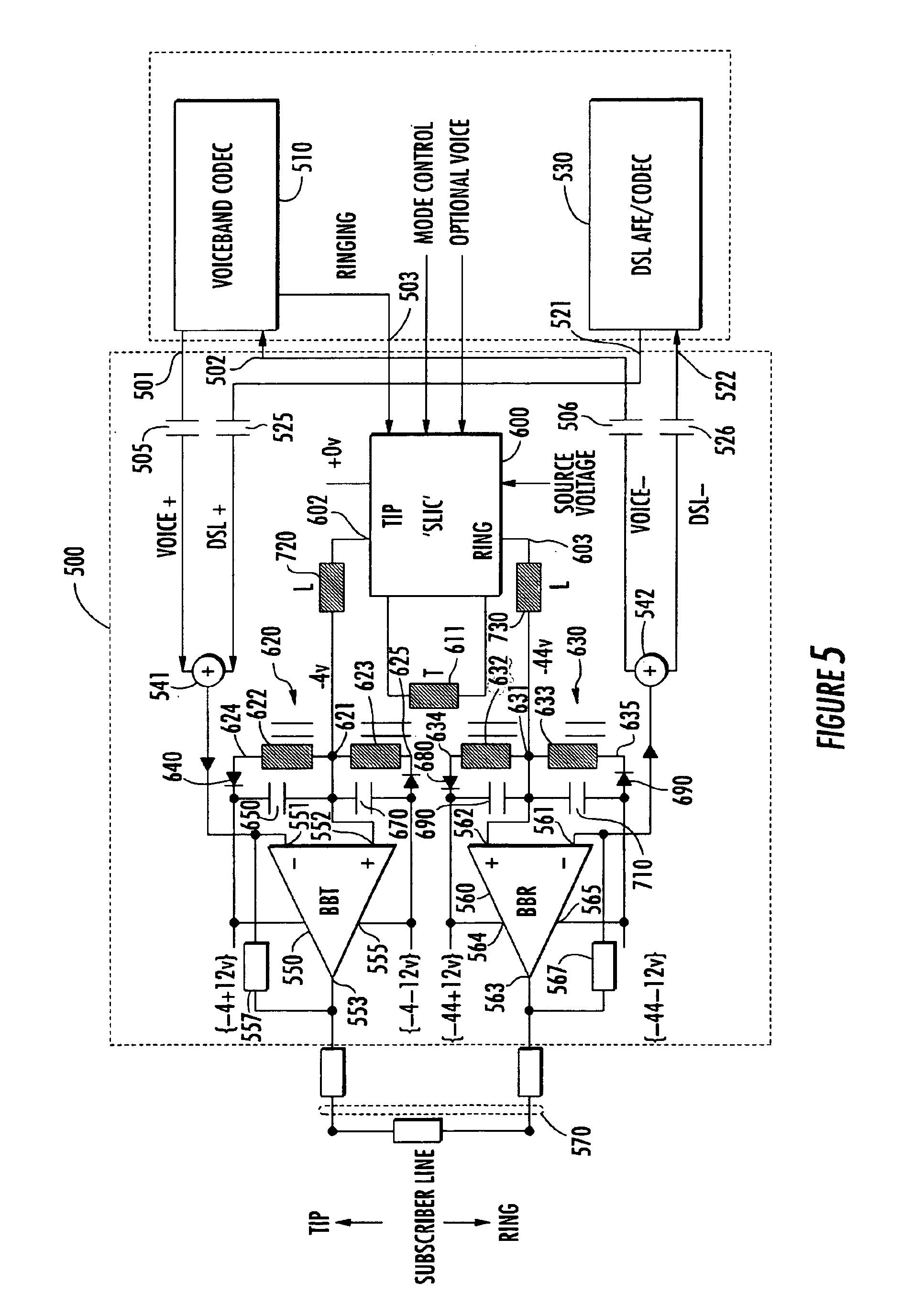 patent us6931108 - integrated pots  dsl line driver with floating supply voltage