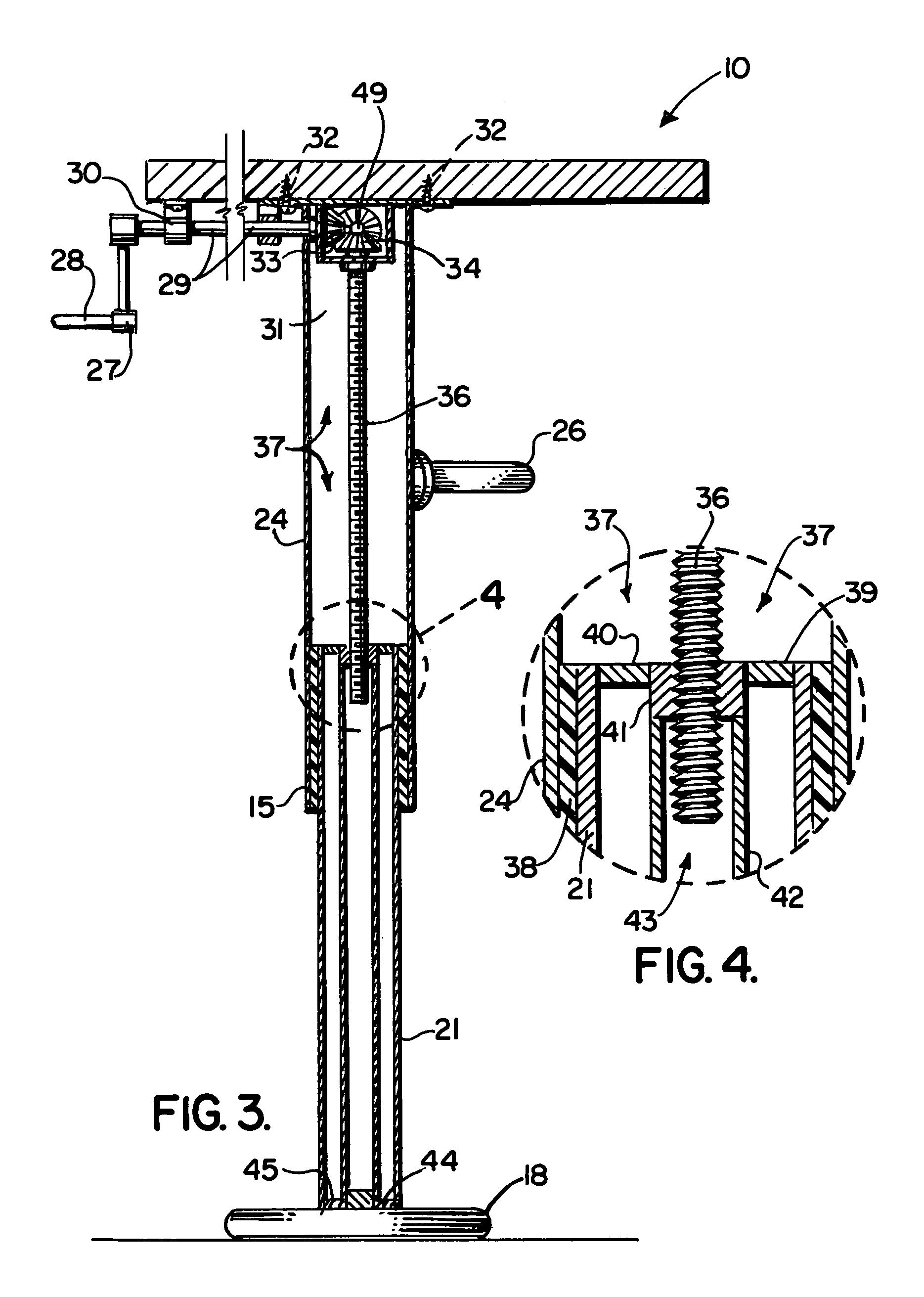 Patent Us6935250 Adjustable Height Table With Multiple