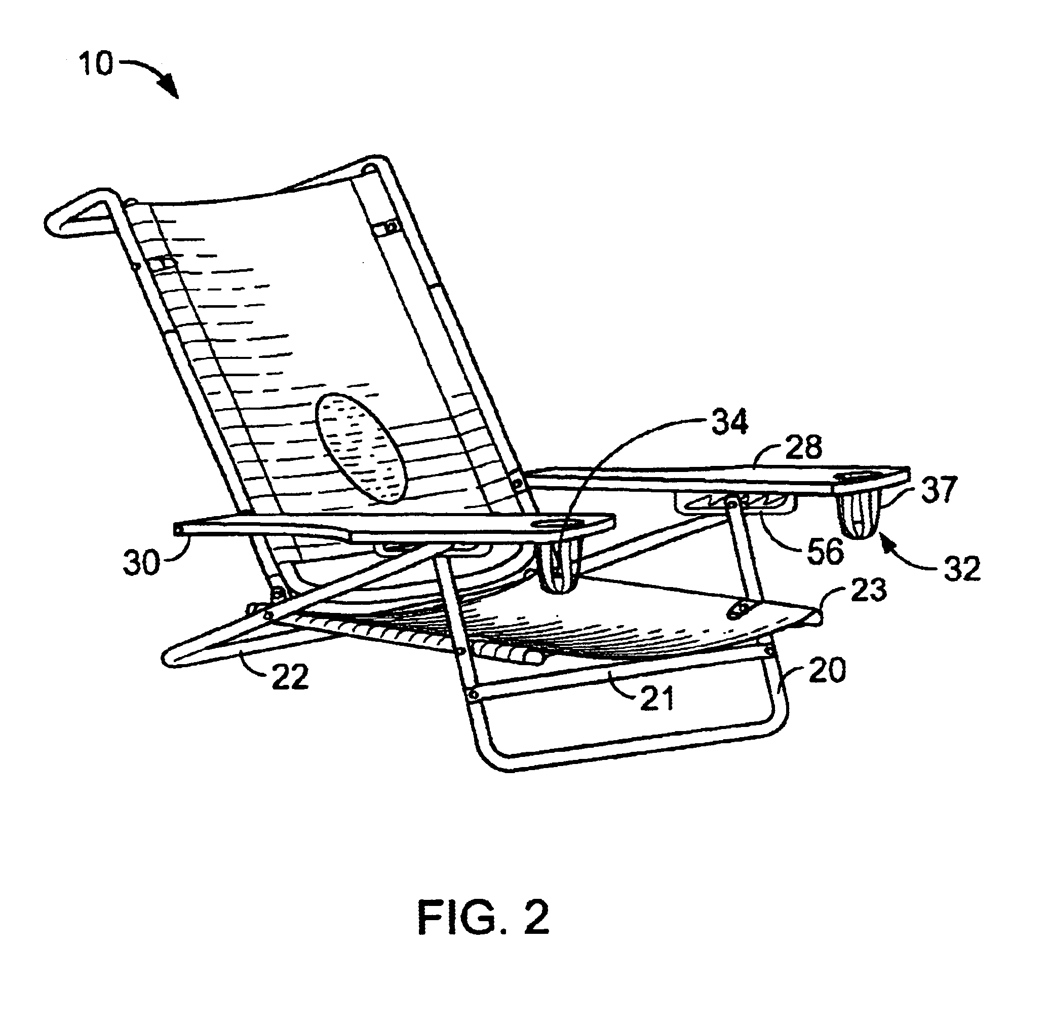 Easy beach chair drawing - Patent Drawing