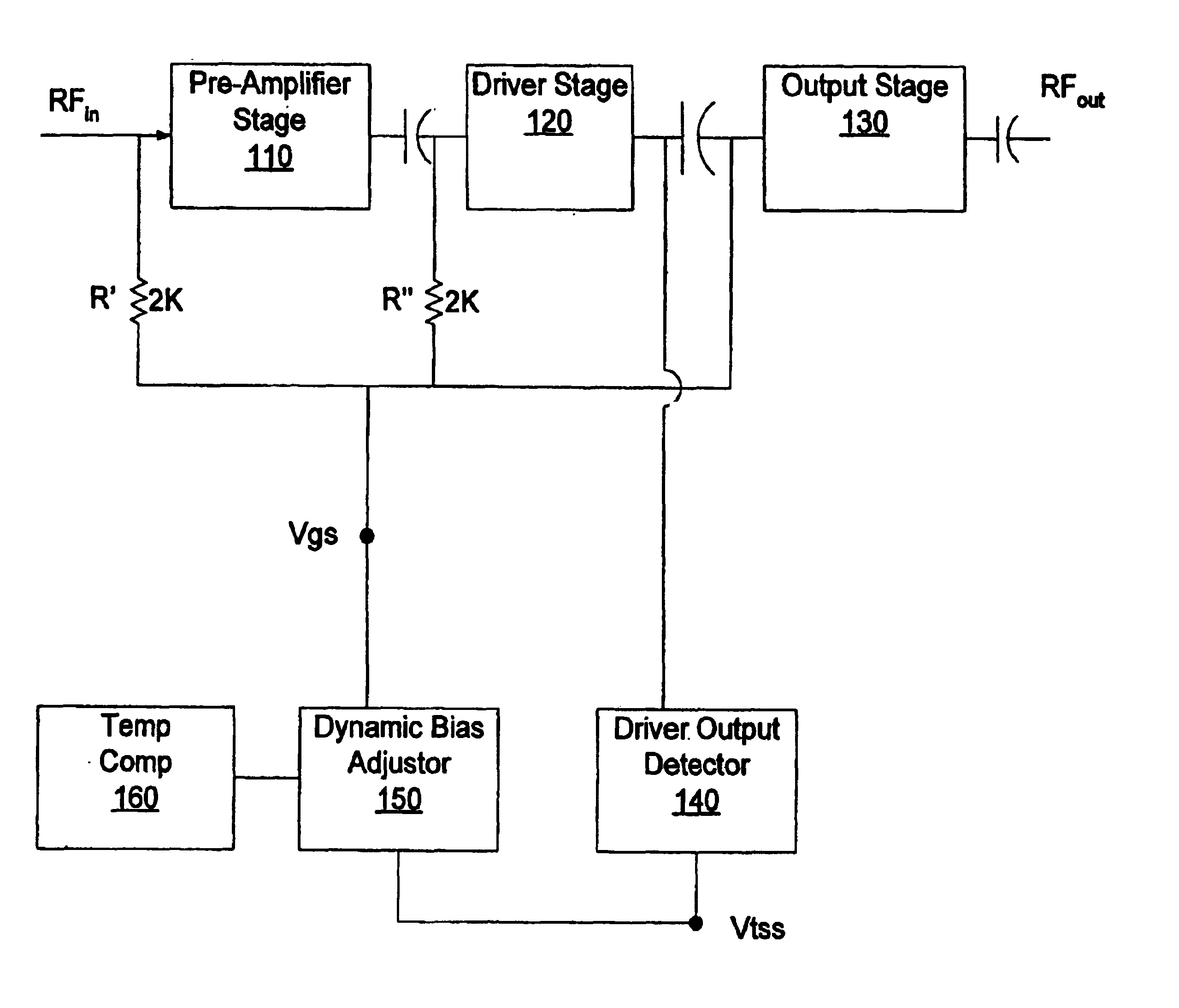Patent Us6937102 Low Bias Current Temperature Compensation Schematic Of The Third Rf Amplifier And Envelope Detector Drawing