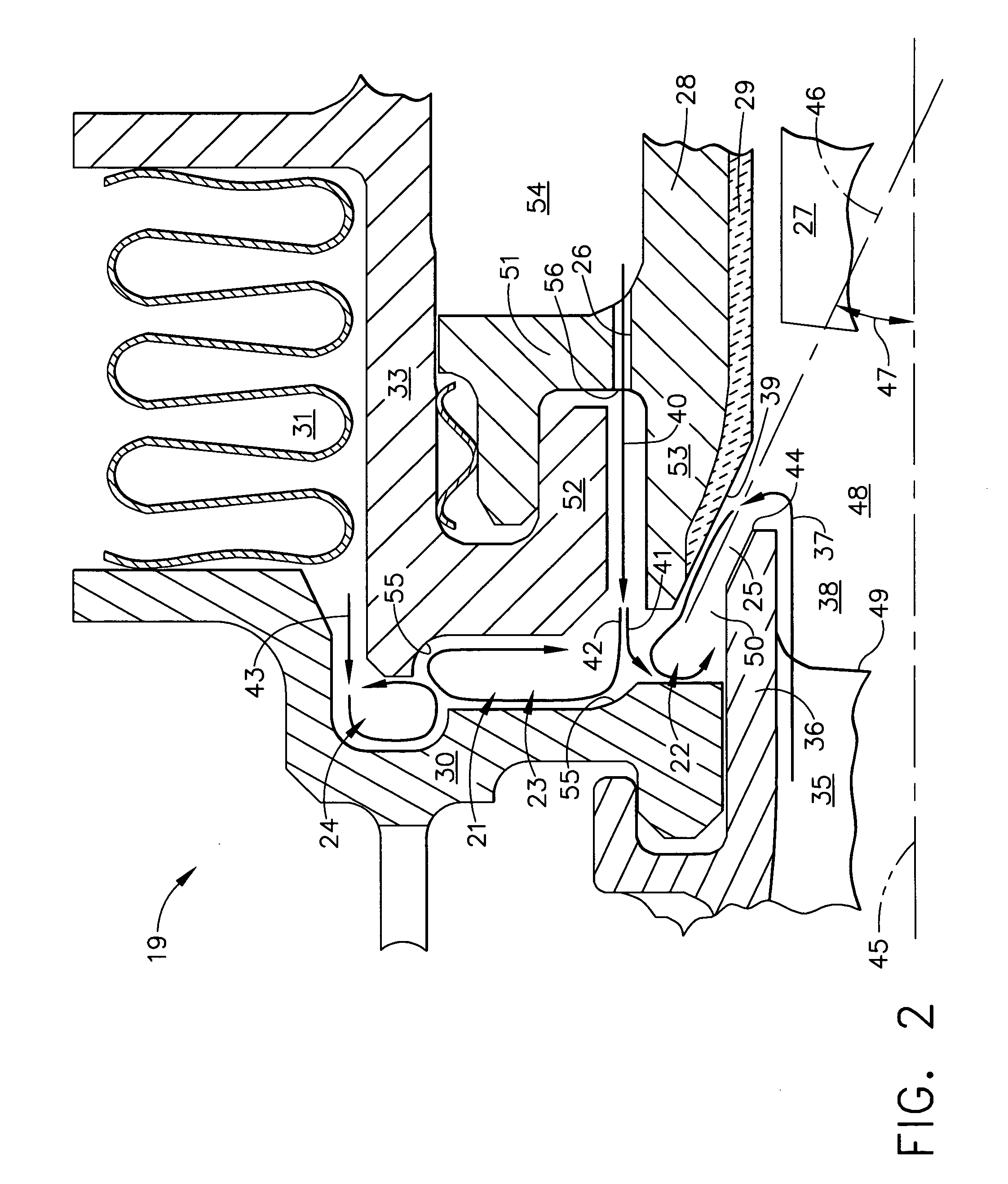 Patent US Gas turbine cooled shroud assembly with hot gas