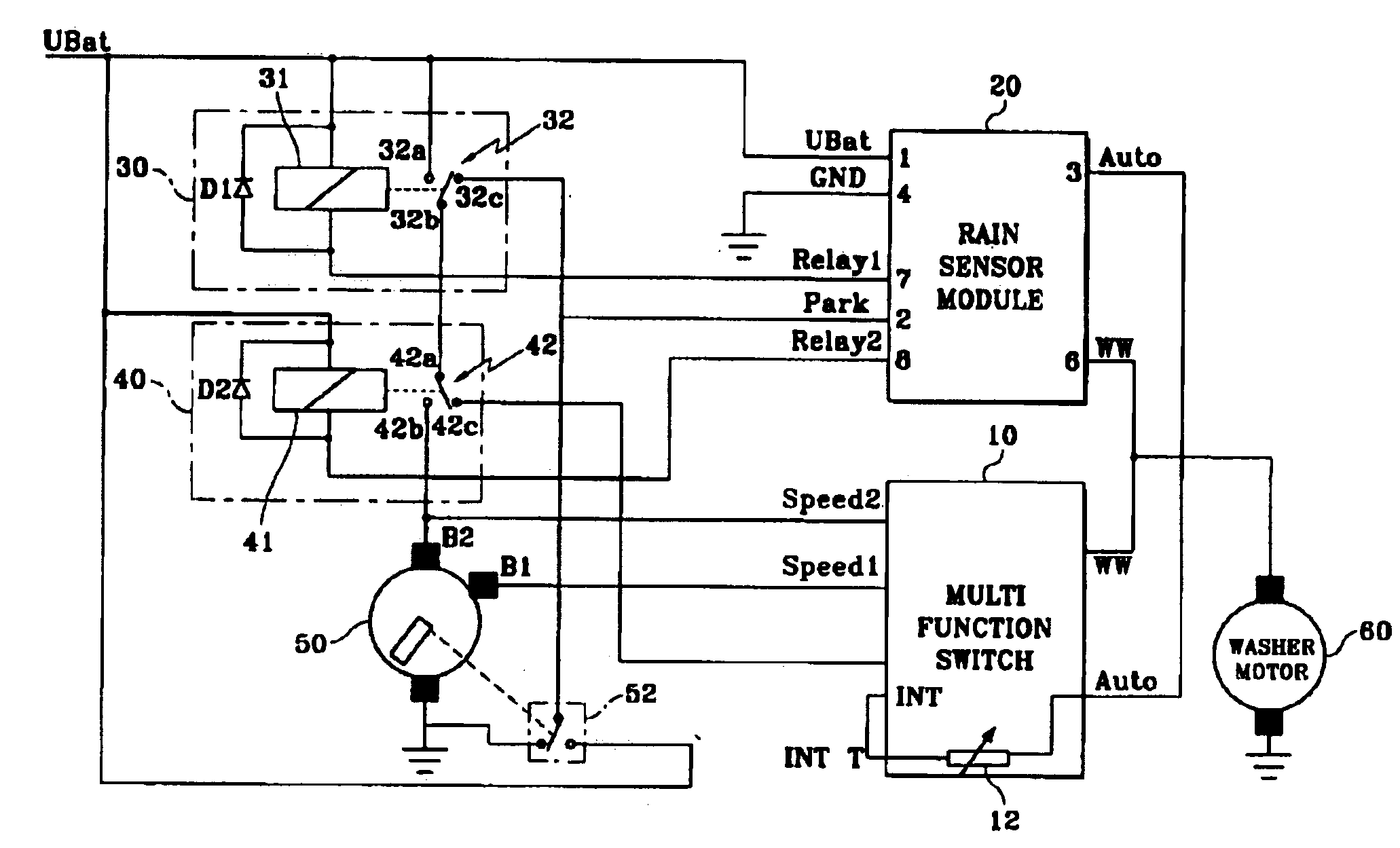 US06958585 20051025 D00000 patent us6958585 windshield wiper system activated by sensing Mazda 3 Radio Wiring Diagram at gsmx.co