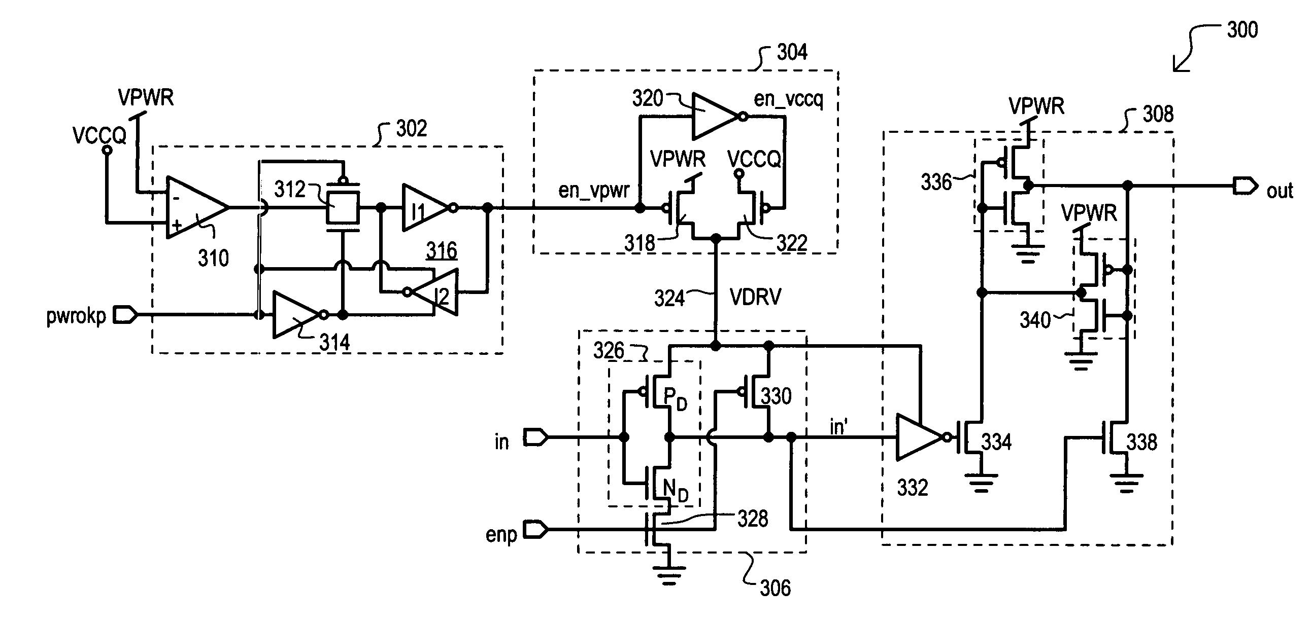 patent us6970032 - power supply detecting input receiver circuit and method