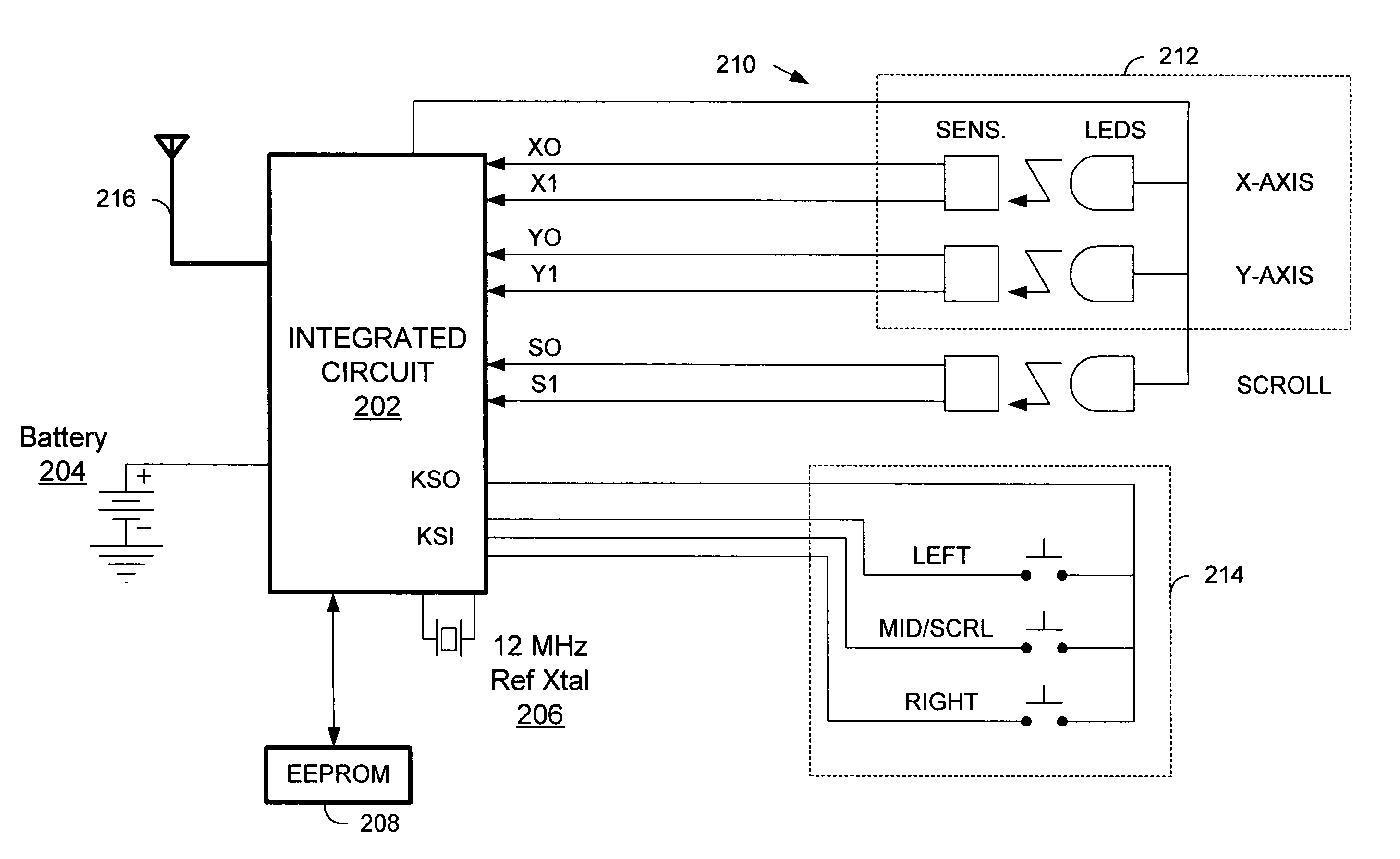 Patent Us6985755 Reduced Power Consumption Wireless Interface Mouse Schematic Drawing