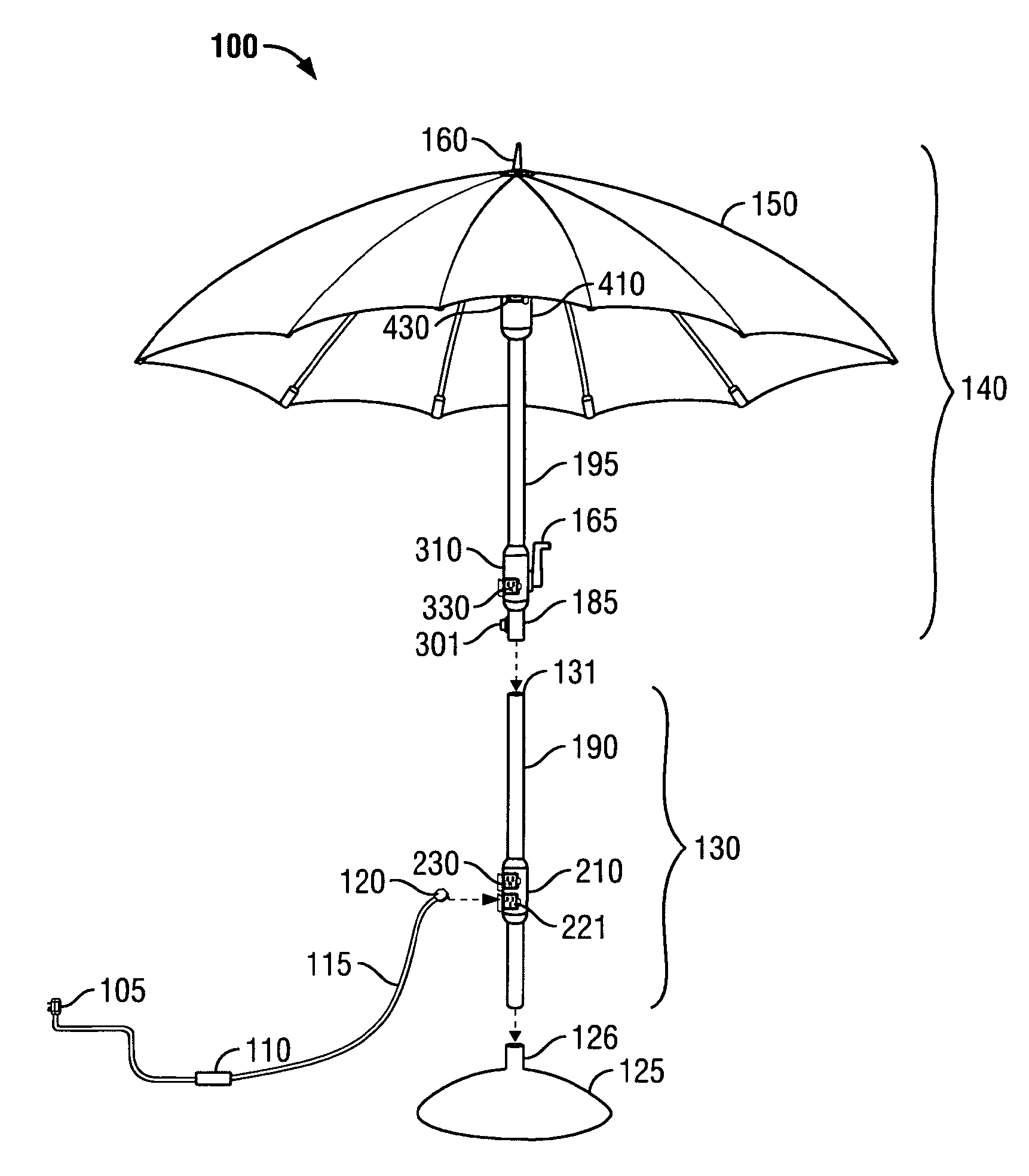 patent us7017598 - powered patio pole umbrella