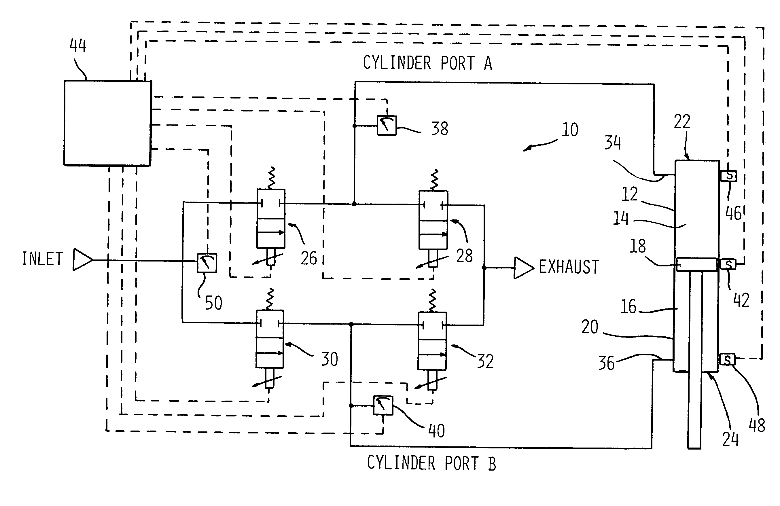 patent us7021191 accurate fluid operated cylinder positioning patent drawing