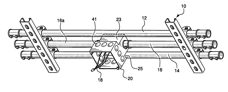 patent us7022912 - conduit rack junction box