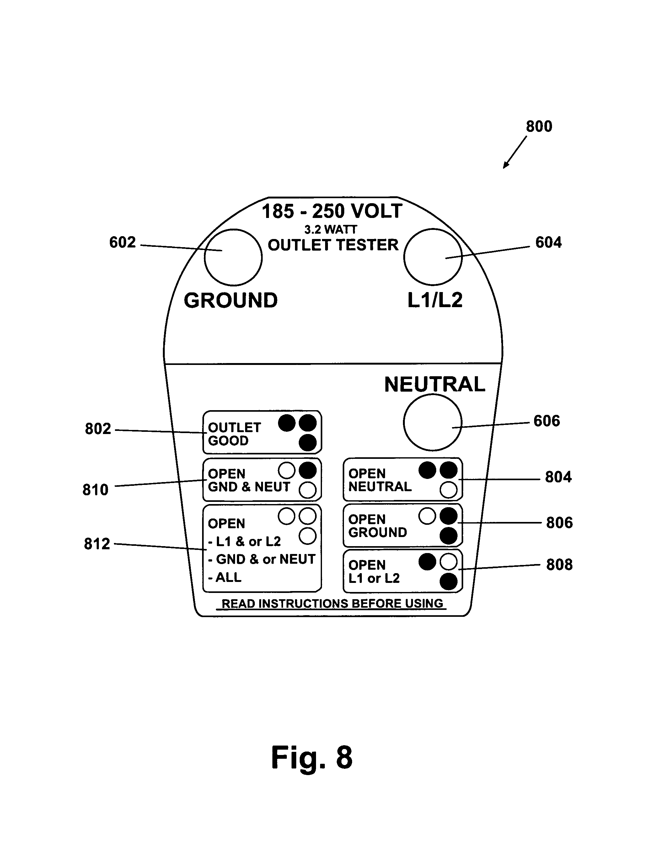 patent us7068038 240 volt outlet tester google patents patent drawing