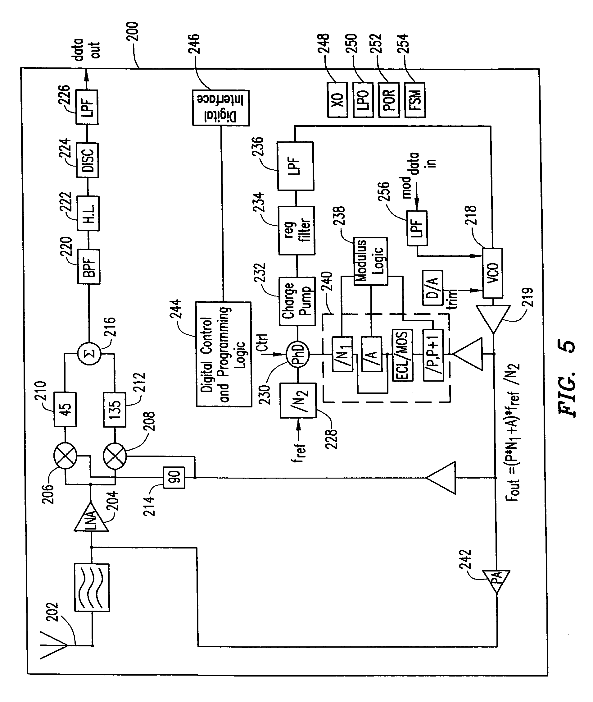 patent us7068171 - radio transceiver on a chip