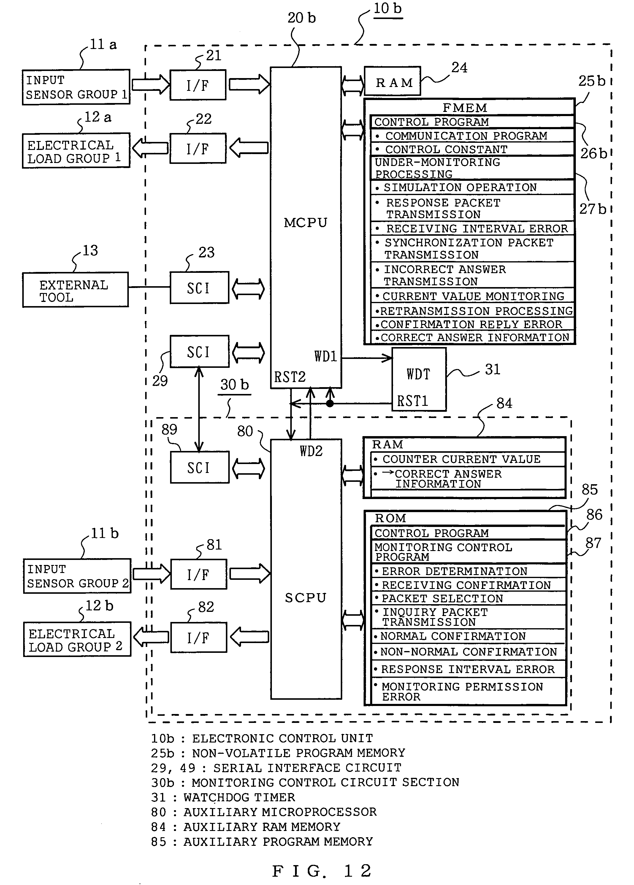 Patent Us7107488 Electronic Control Unit Including Monitoring Watchdog Circuit Drawing