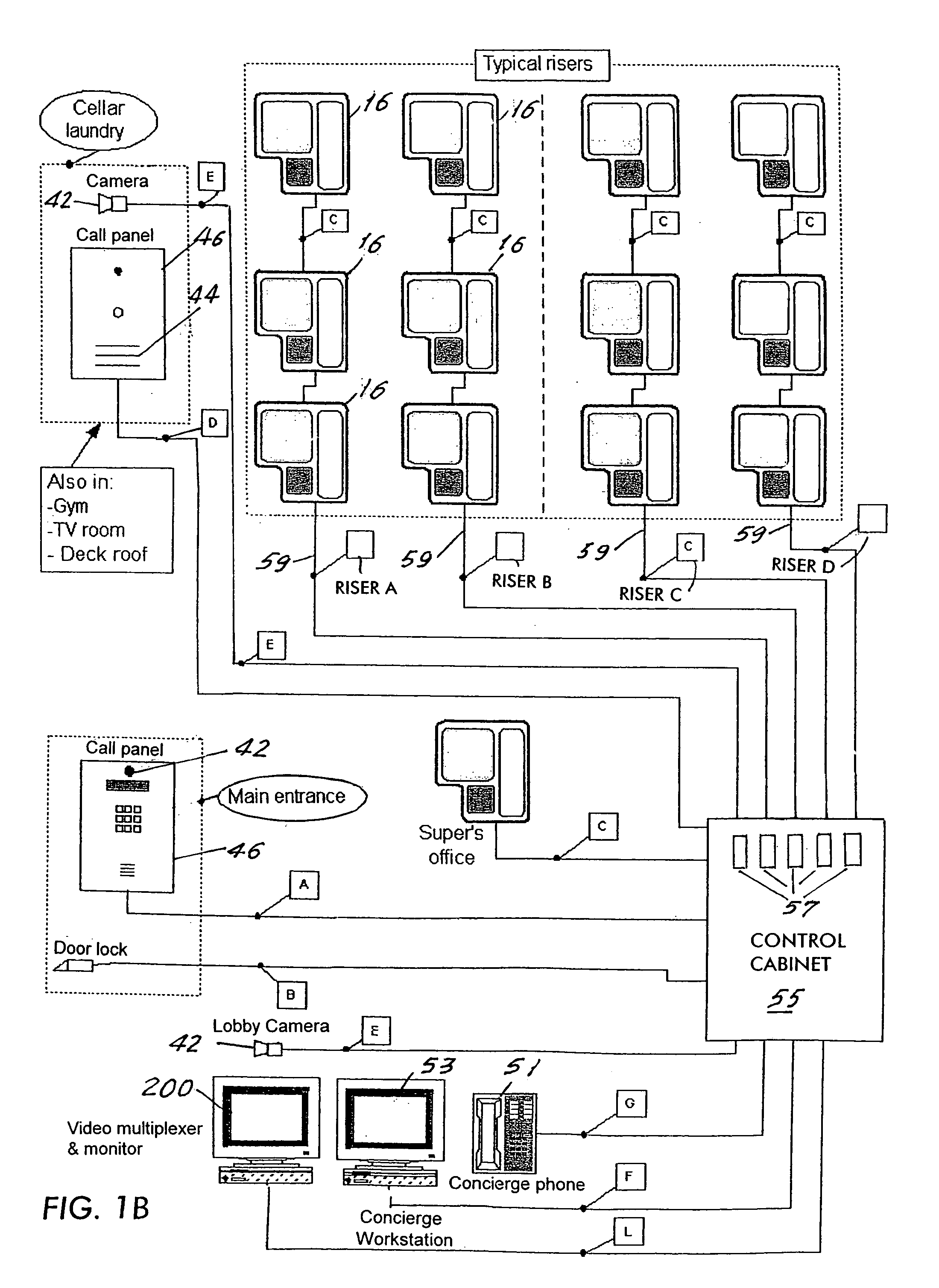 US07123142 20061017 D00002 patent us7123142 integrated intercom and security system terraneo intercom wiring diagram at soozxer.org