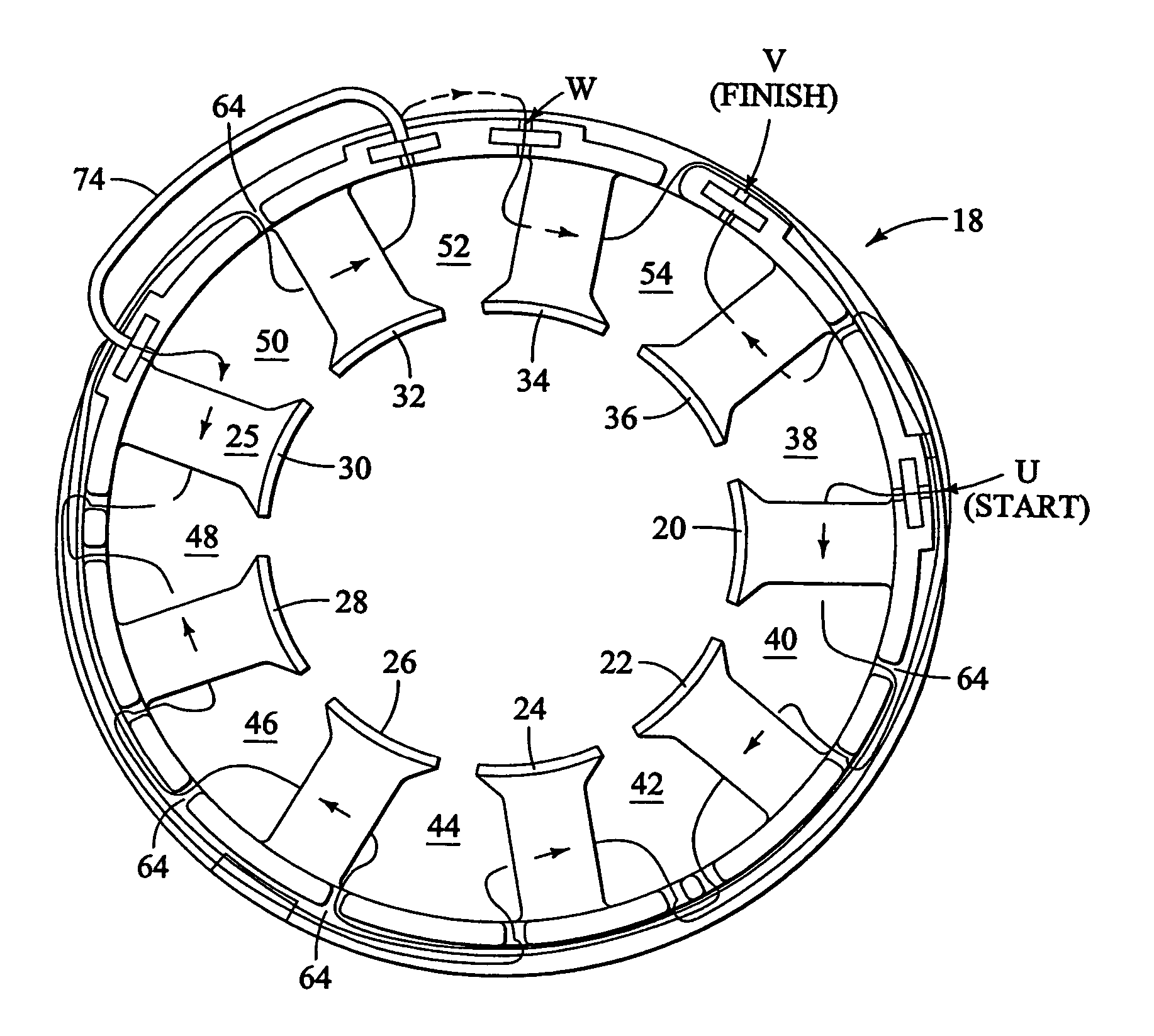 patent us7152301 method for winding a stator of multi phase patent drawing