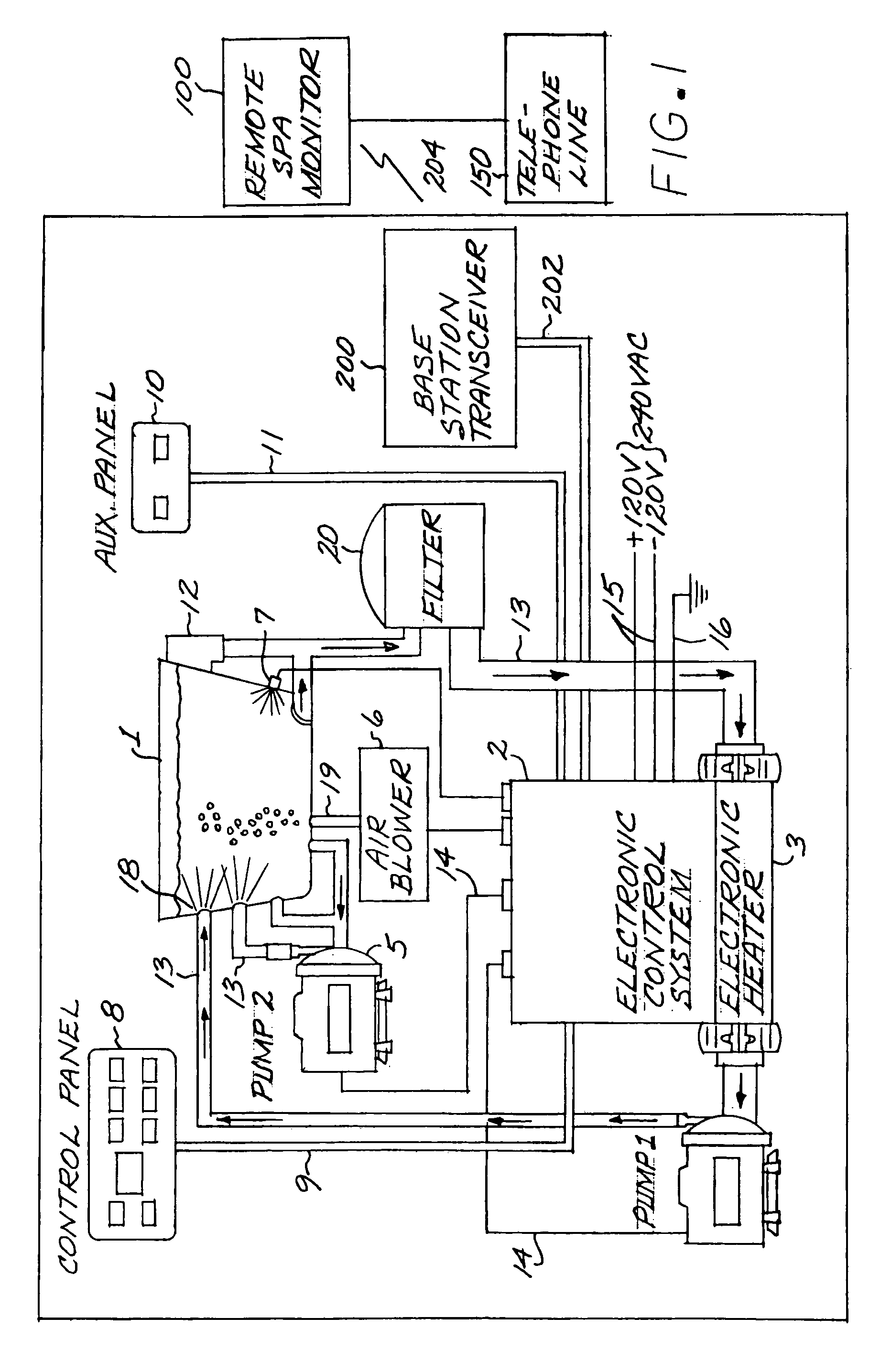 US07167087 20070123 D00001 patent us7167087 remote spa monitor google patents jandy spa side remote wiring diagram at aneh.co