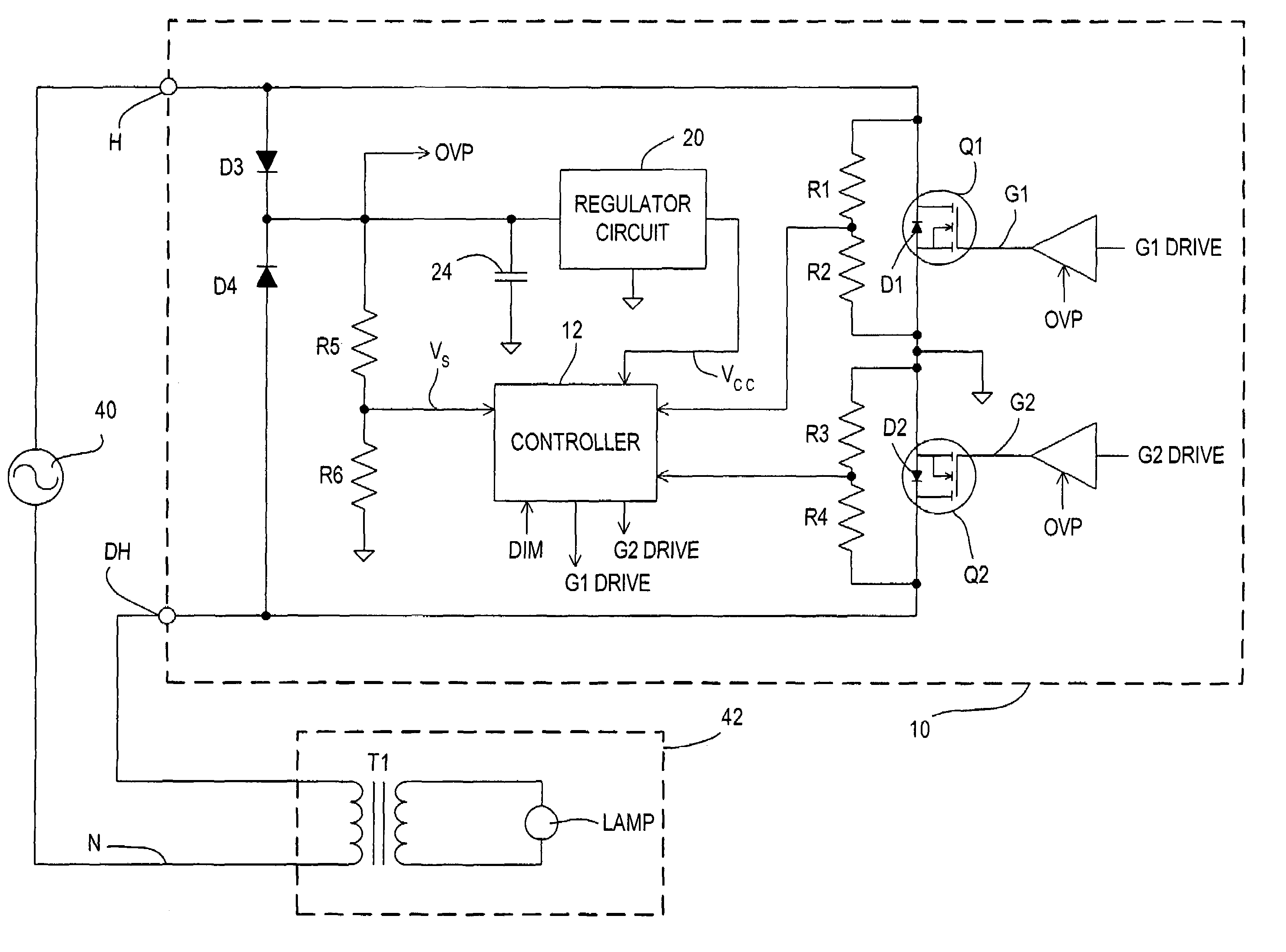 Patent Us7190124 Two Wire Dimmer With Power Supply And Load Mosfet Protection From Overheating Electronic Circuit Projects Drawing