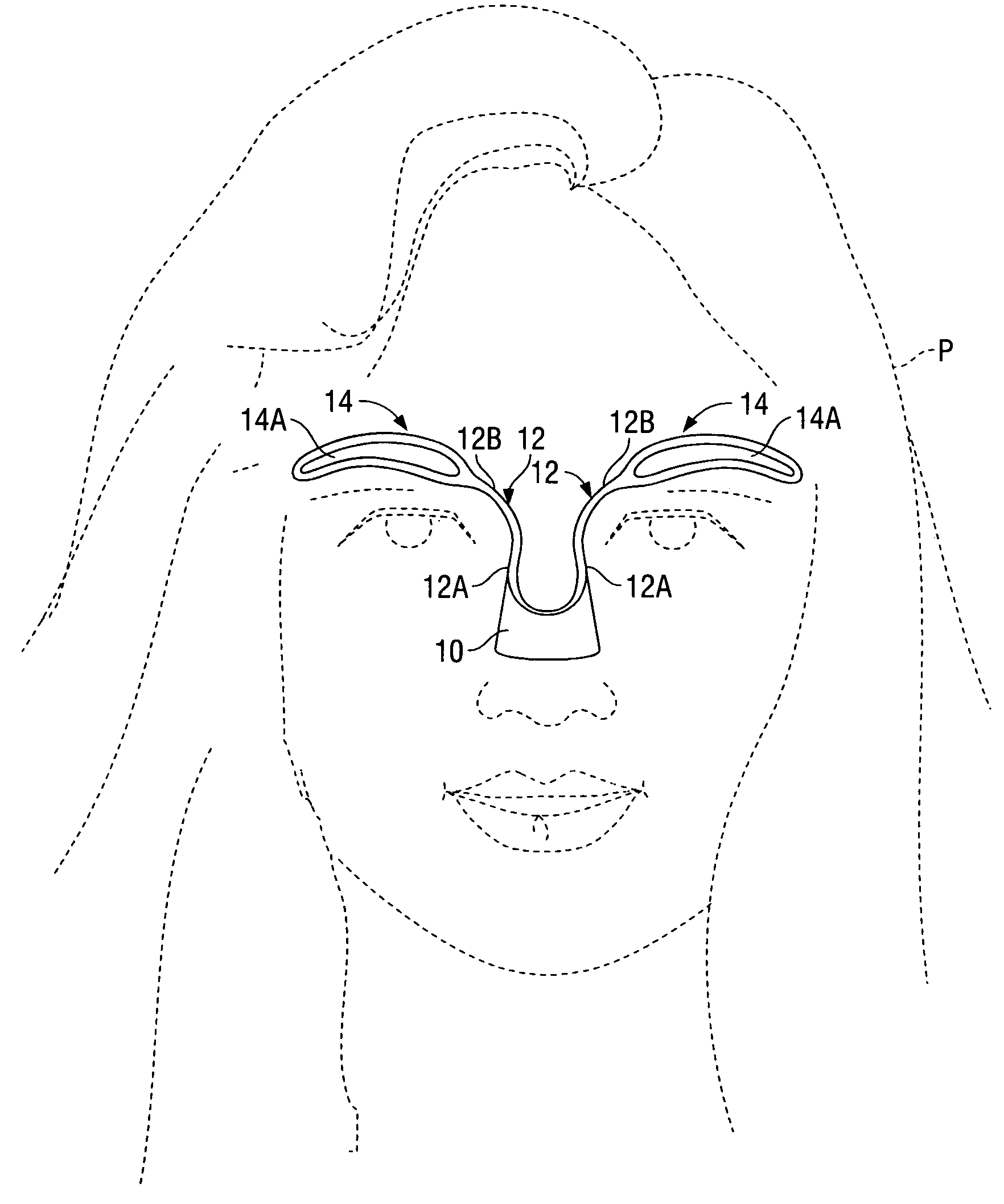 patent us7219674 template and method for applying makeup to Jaw Sculpting patent drawing