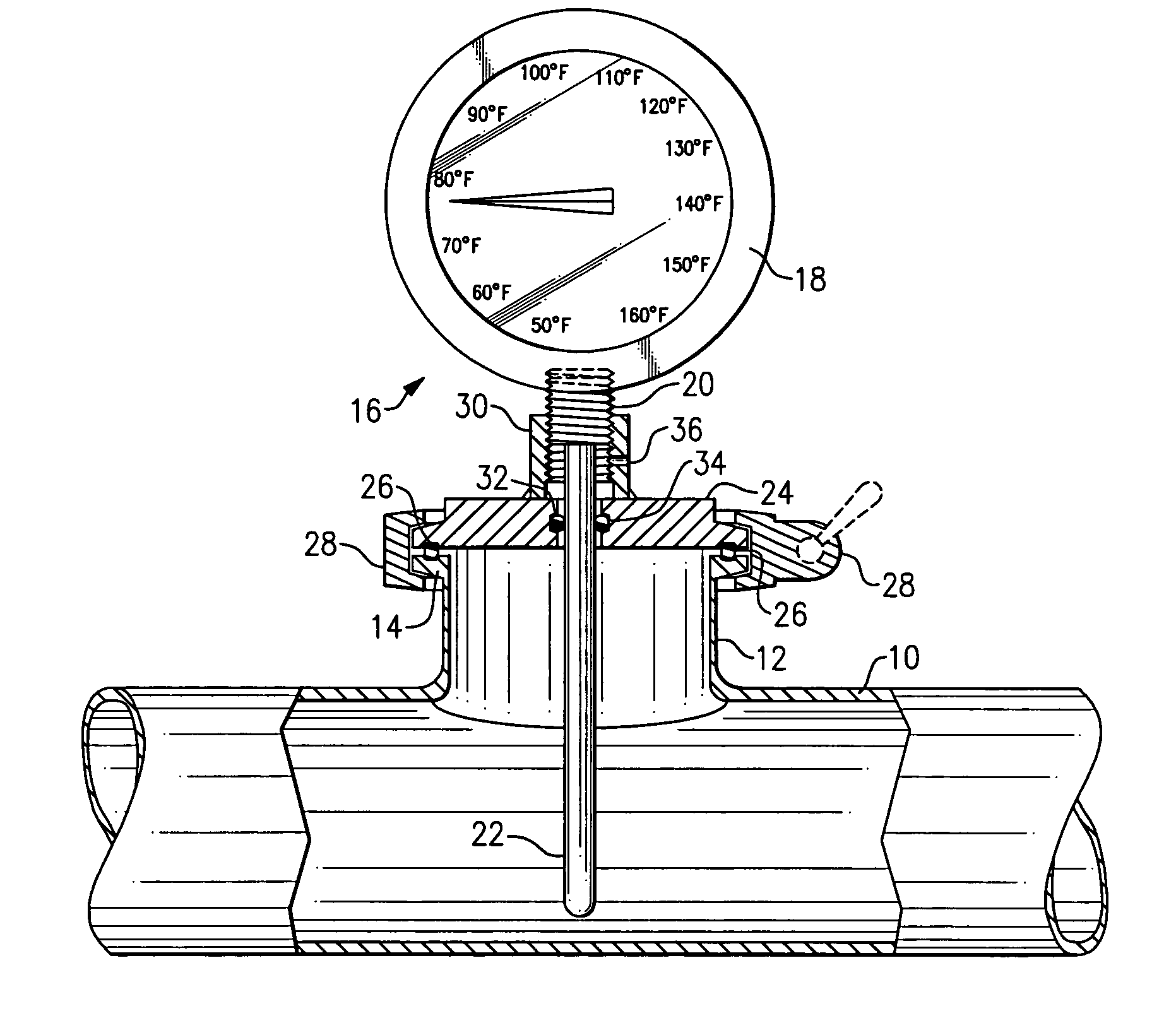 Patent us temperature gauge for use with sanitary