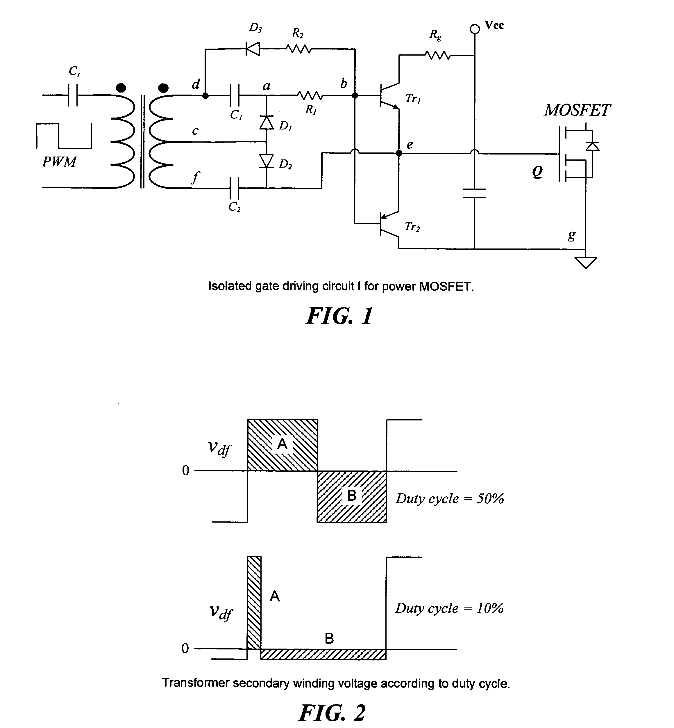 Patent Us7236041 Isolated Gate Driver Circuit For Power Switching Part Of A Shows Half Bridges With Centre Tapped Windings Drawing