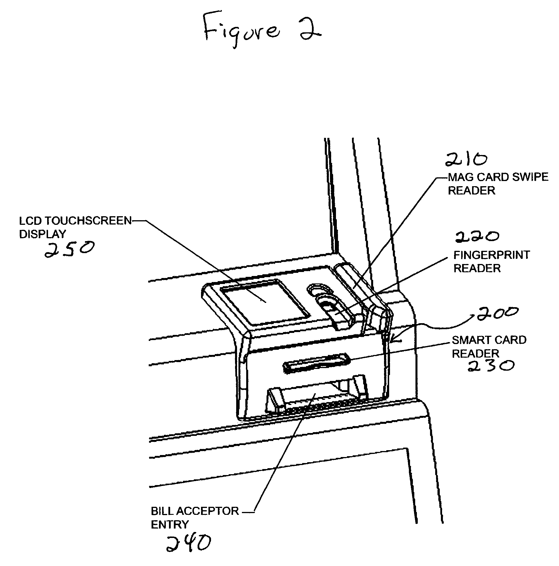 patent us7247098 - combination fingerprint reader and i  o devices for gaming machines