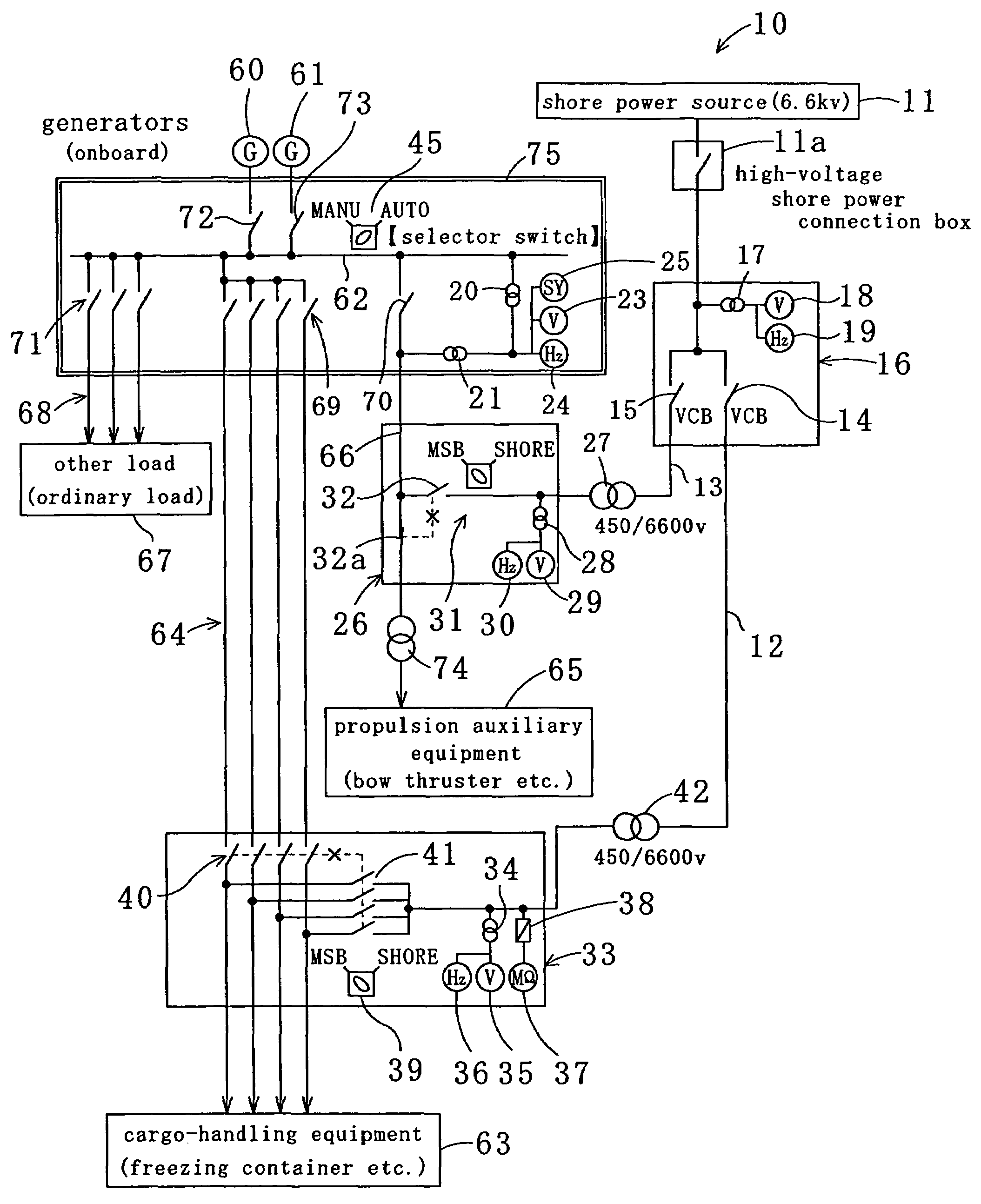 US07253538 20070807 D00000 patent us7253538 method of supplying electric power from shore vcb panel wiring diagram at mifinder.co