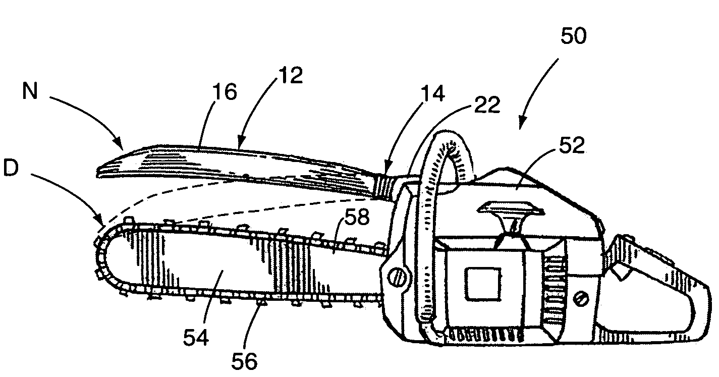 Patent us chainsaw kickback protection device