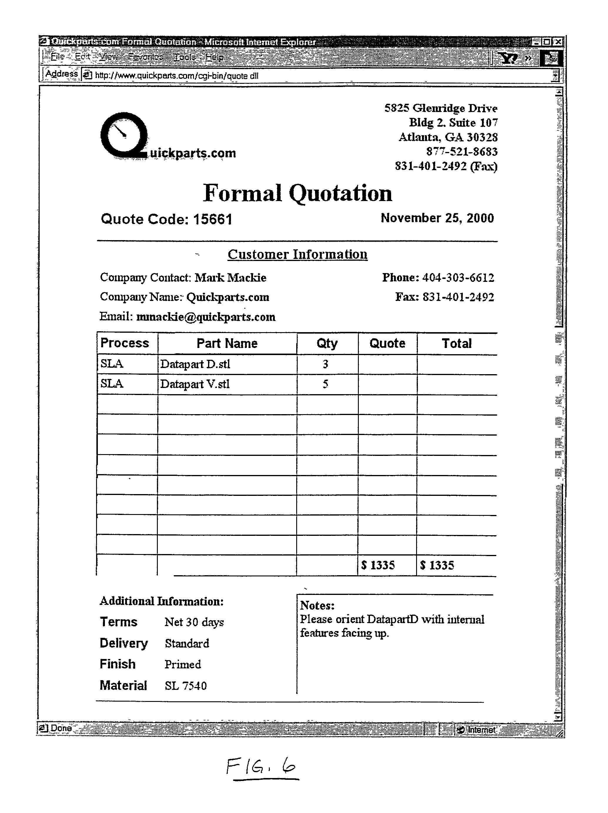 Patent US7305367 Instantaneous price quotation system for custom – New Quotation Format