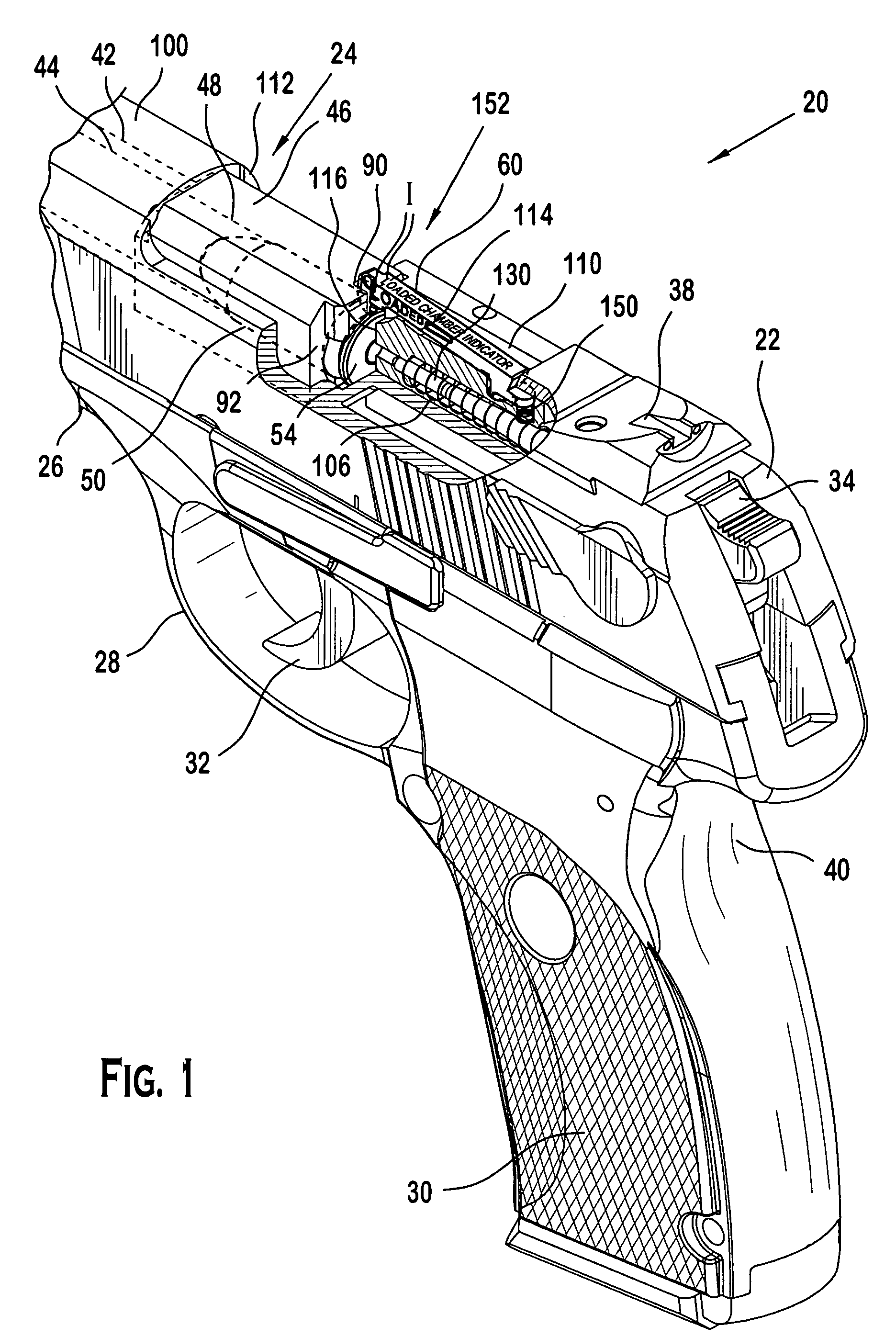 patent us7305786 - pistol with loaded chamber indicator